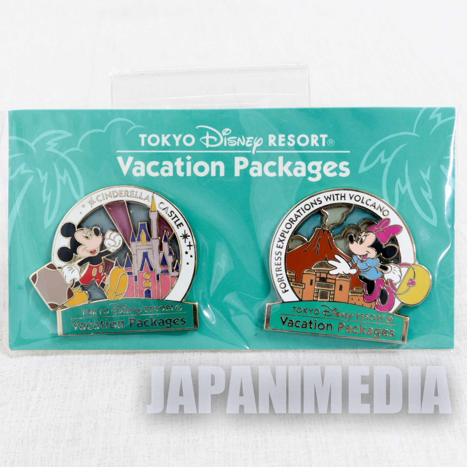 Tokyo Disney Resort Vacation Packages Mickey Minnie Mouse Metal Pins 2pc Set