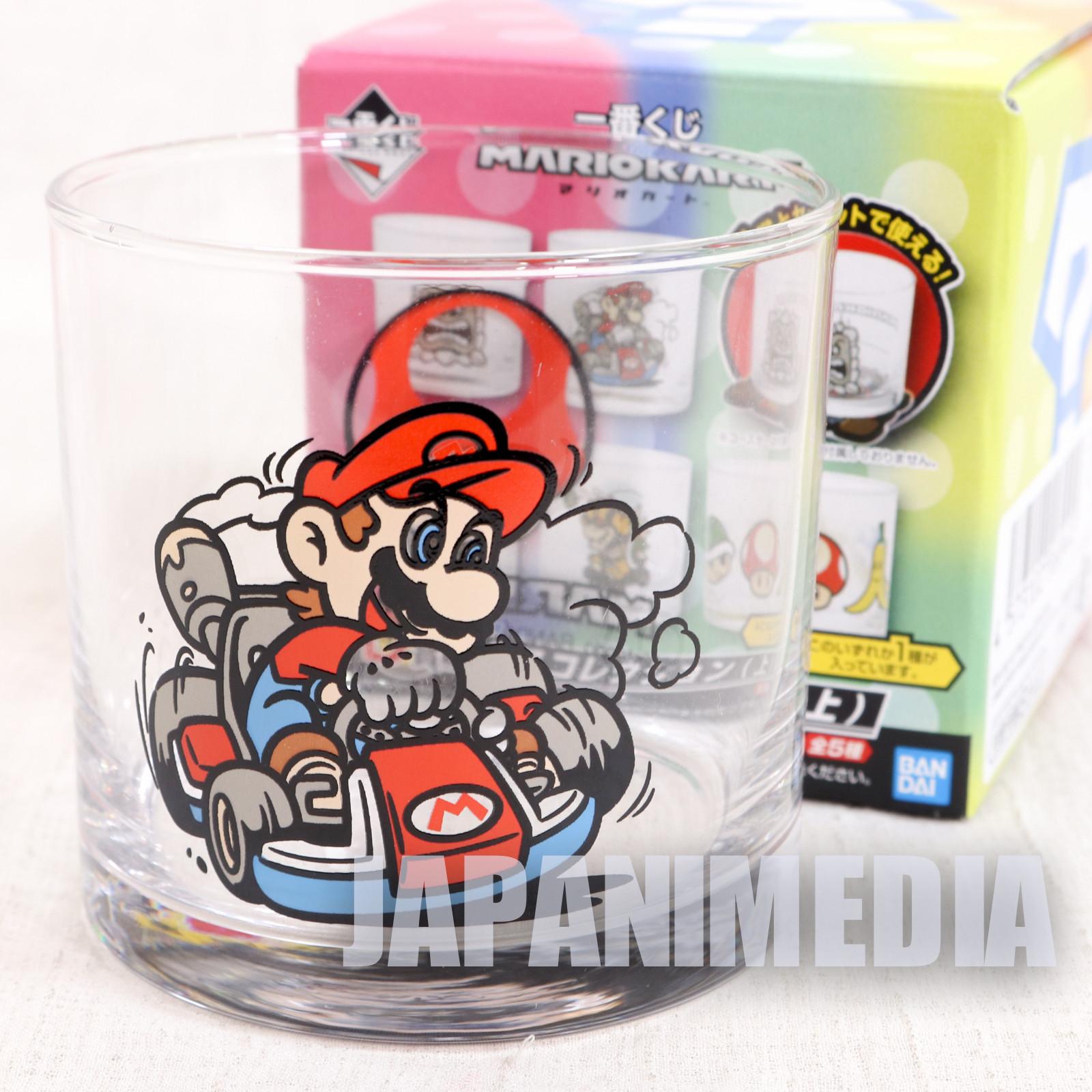 Super Mario Kart Mario Rock Glass Banpresto JAPAN GAME NES