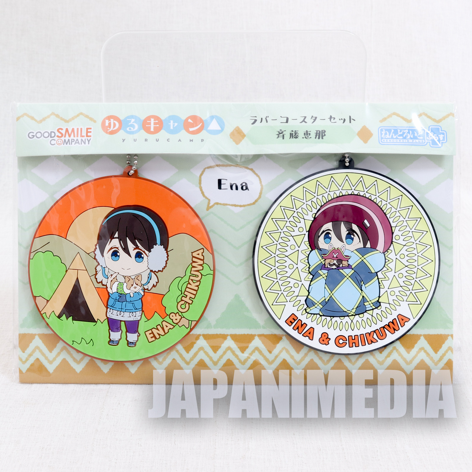 Yuru Camp Ena & Chikuwa Rubber Coaster 2pc Set JAPAN ANIME MANGA