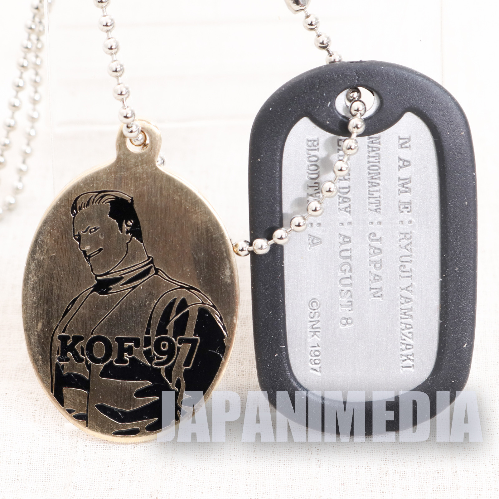 KOF '97 / King of Fighters Ryuji Yamazaki Metal Plate Ballchain SNK JAPAN NEOGEO