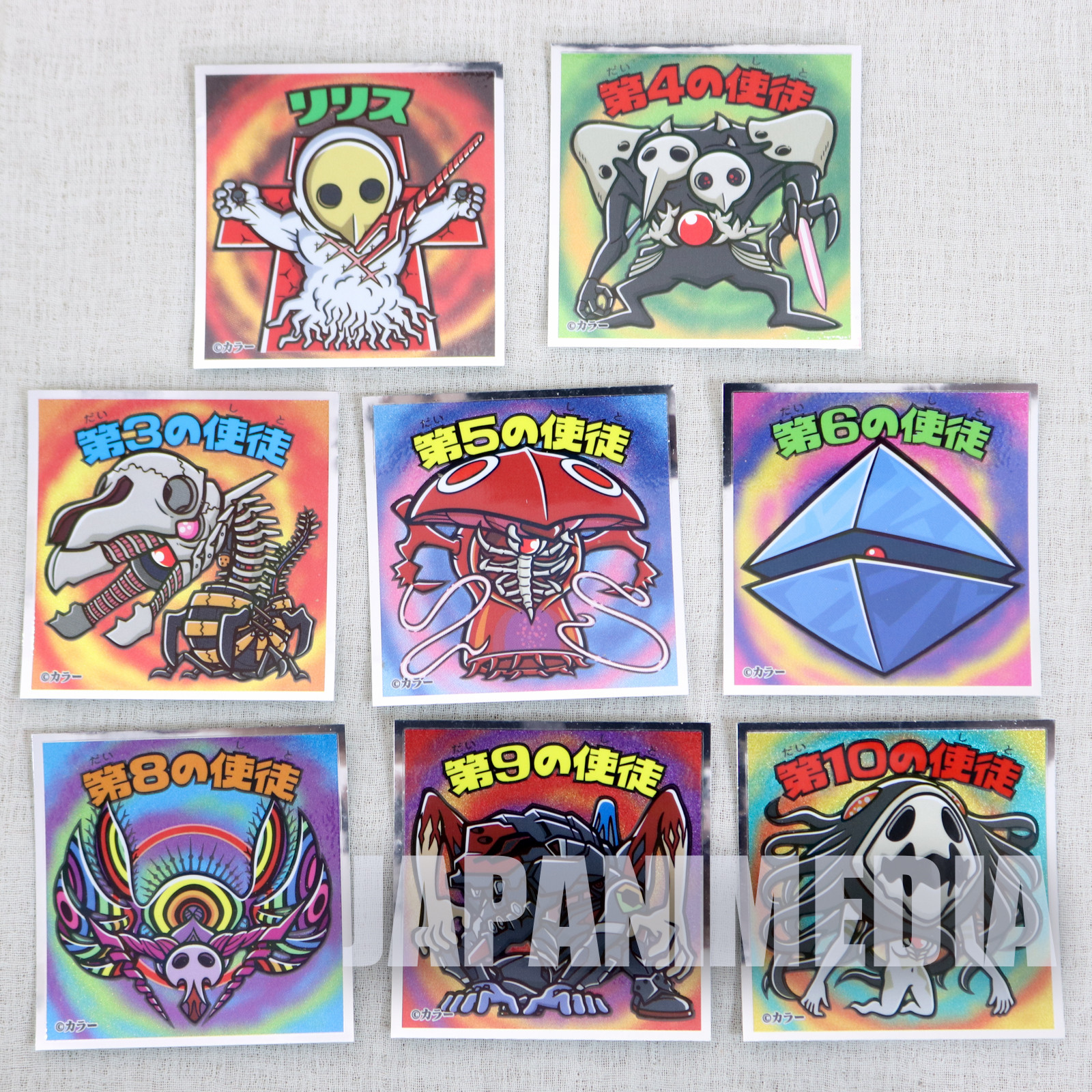Evangelion EVA-KKURIMAN Sticker 8pc Set Angel Shito BIKKURIMAN JAPAN ANIME