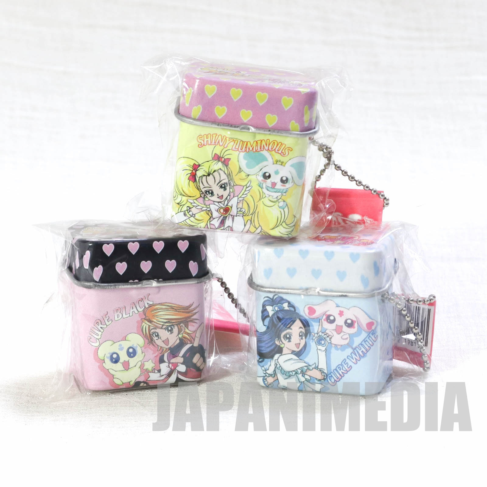 RARE!! Futari wa Pretty Cure Max Heart Cure Brack & Cure White & Shiny Luminous Micro Can Ball keychain 3pc set JAPAN 2