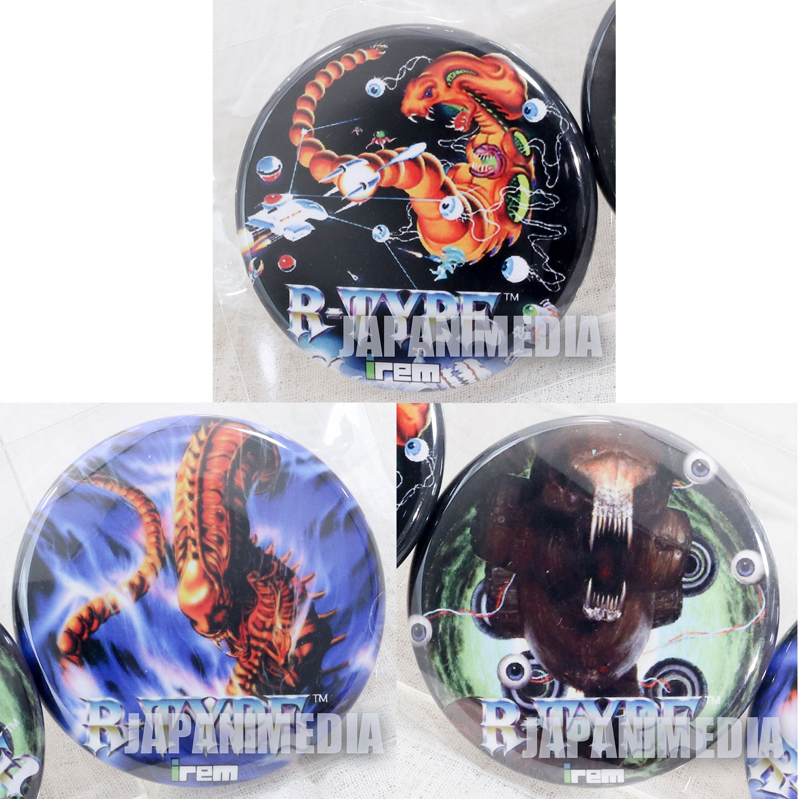 R-TYPE Button Badge Pins 3pc Set JAPAN JAPAN GAME PC Engine IREM