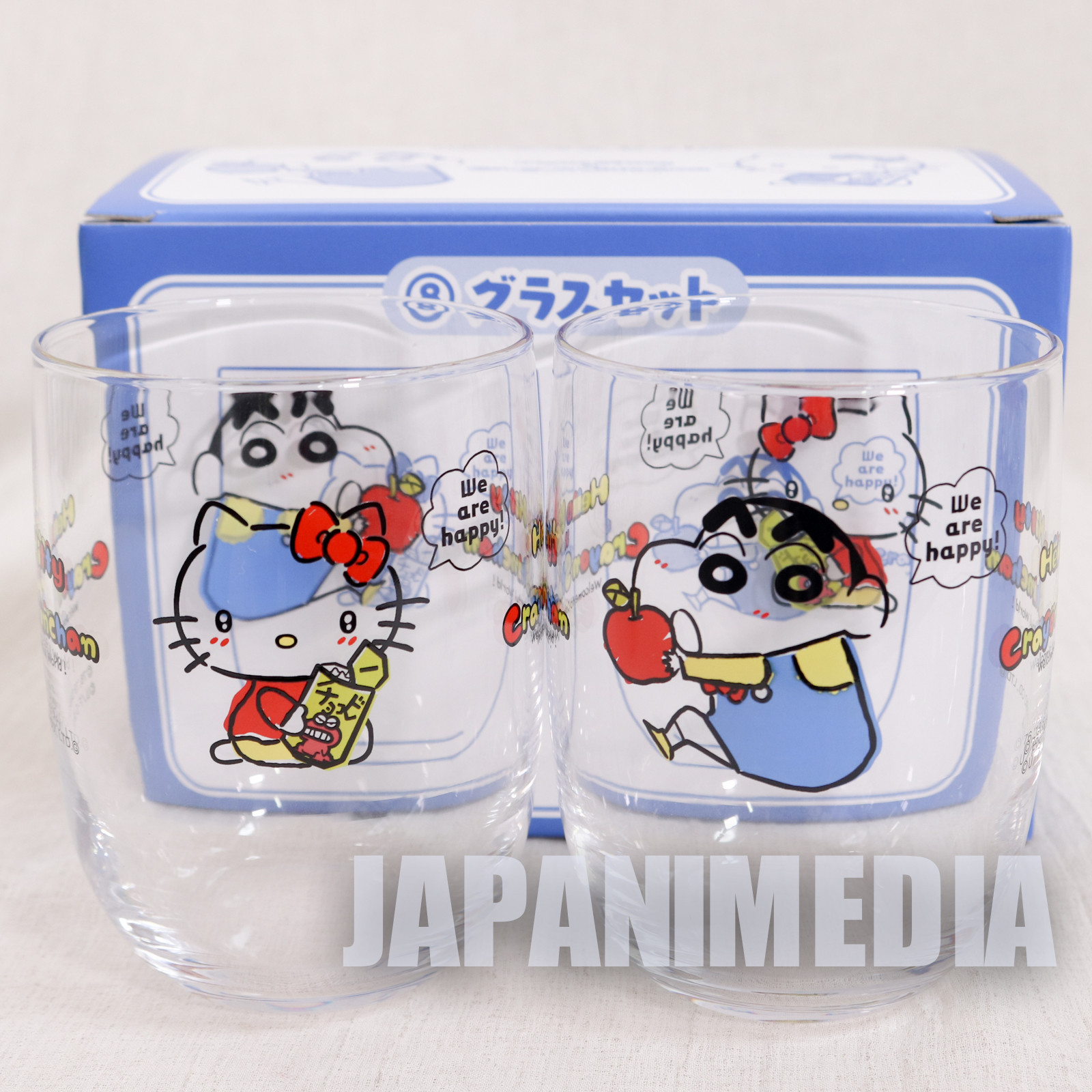 Crayon Shin-chan x Hello Kitty Glass 2pc Set Sanrio Smile JAPAN