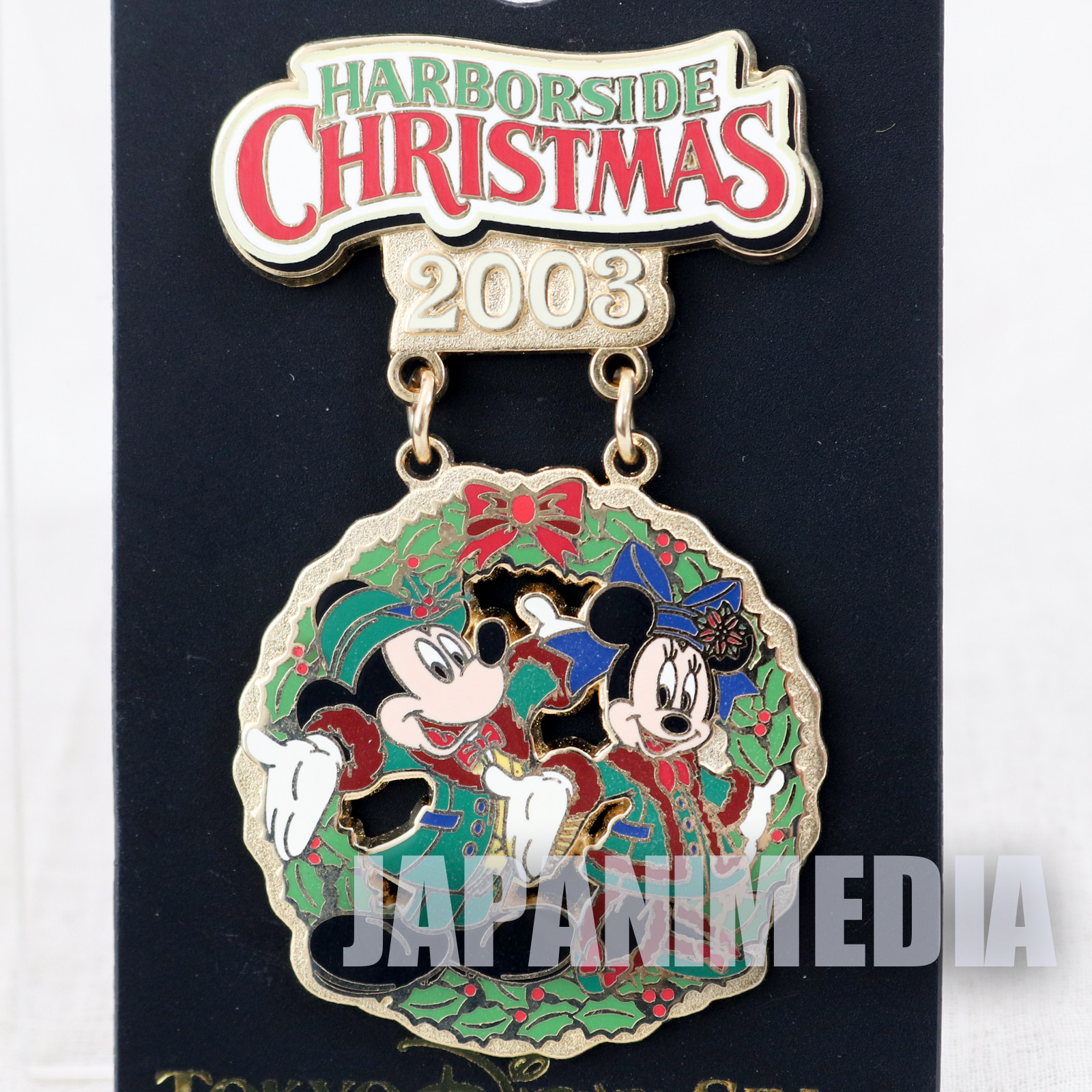 Tokyo Disney Sea Harnorside Chiristmas 2003 Mickey Minnie Mouse Metal Pins