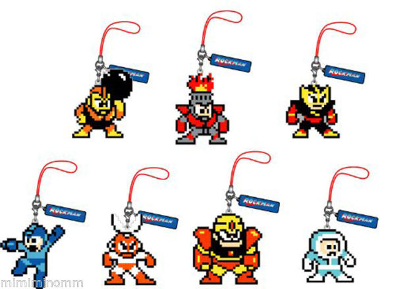 Set of 7 Rockman Mega man Dot Rubber Mobile Strap Collection Vol.2 JAPAN GAME NES