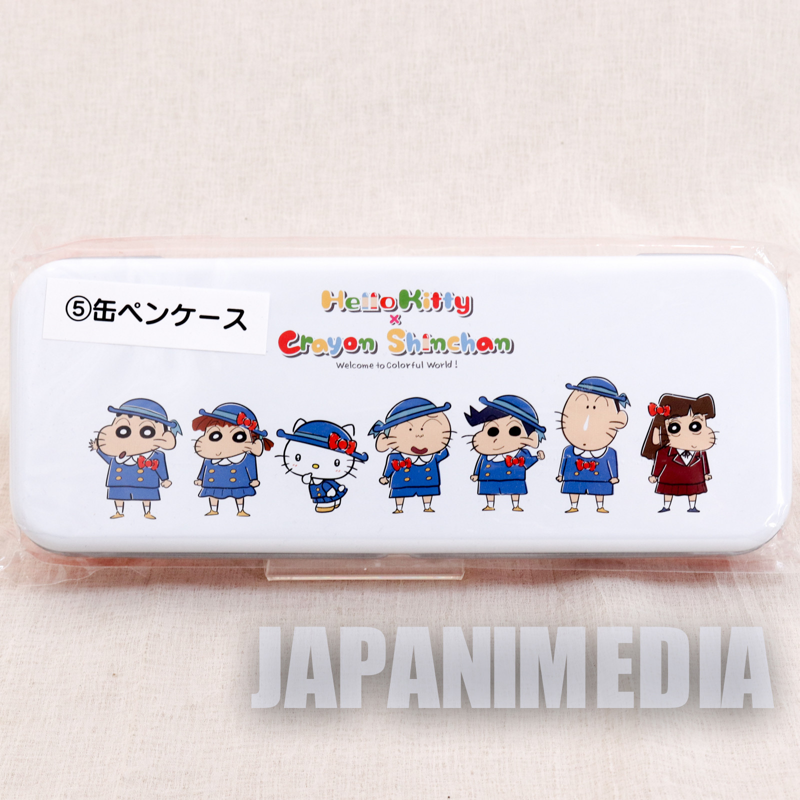 Crayon Shin-chan x Hello Kitty Can Pen Case Sanrio Smile JAPAN