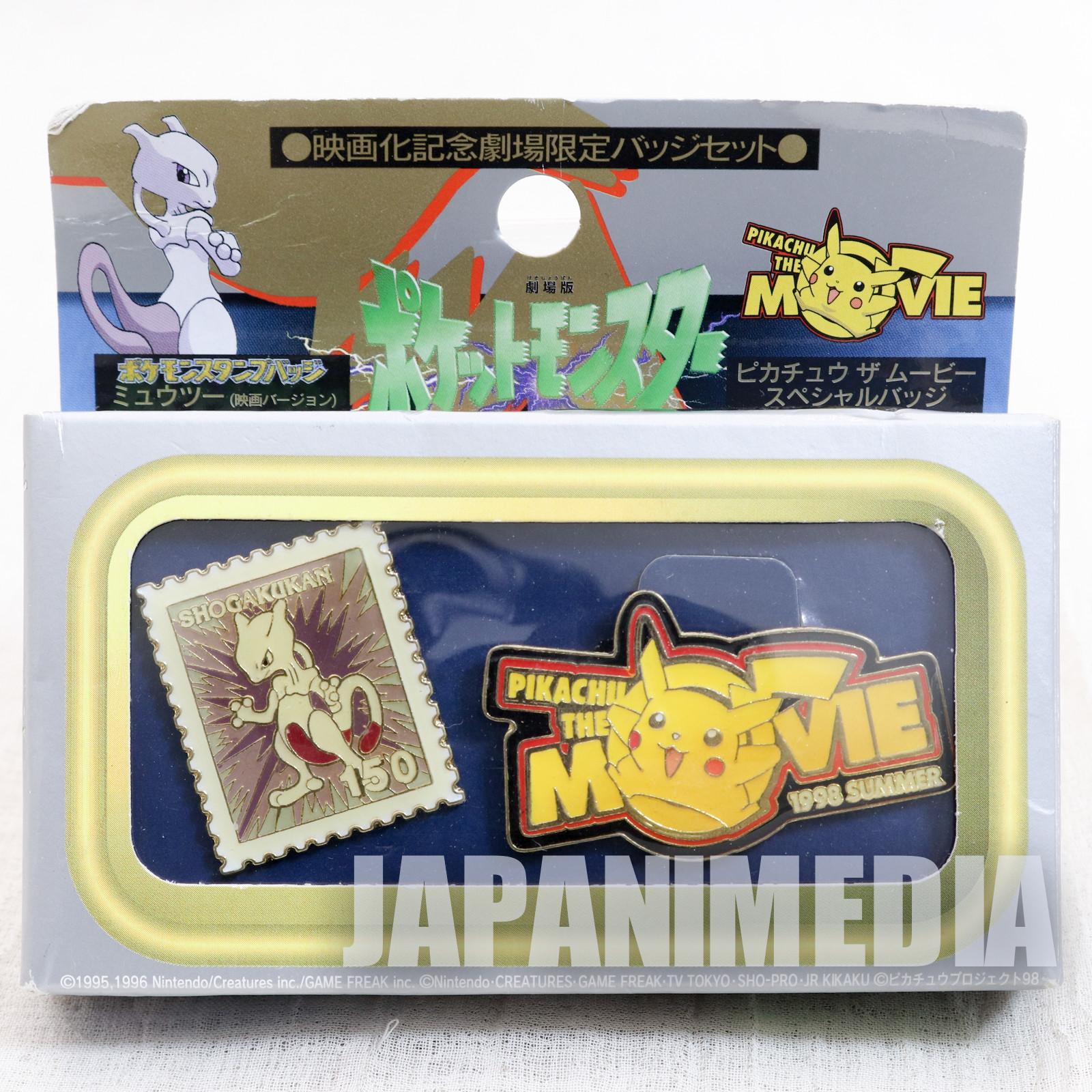 Pokemon Movie Pikachu & Mewtwo Pins Set Pocket Monster JAPAN ANIME MANGA