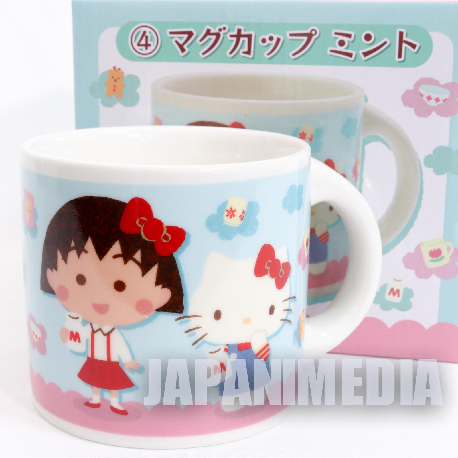 Chibi Maruko Chan x Hello Kitty Mug Sanrio JAPAN ANIME