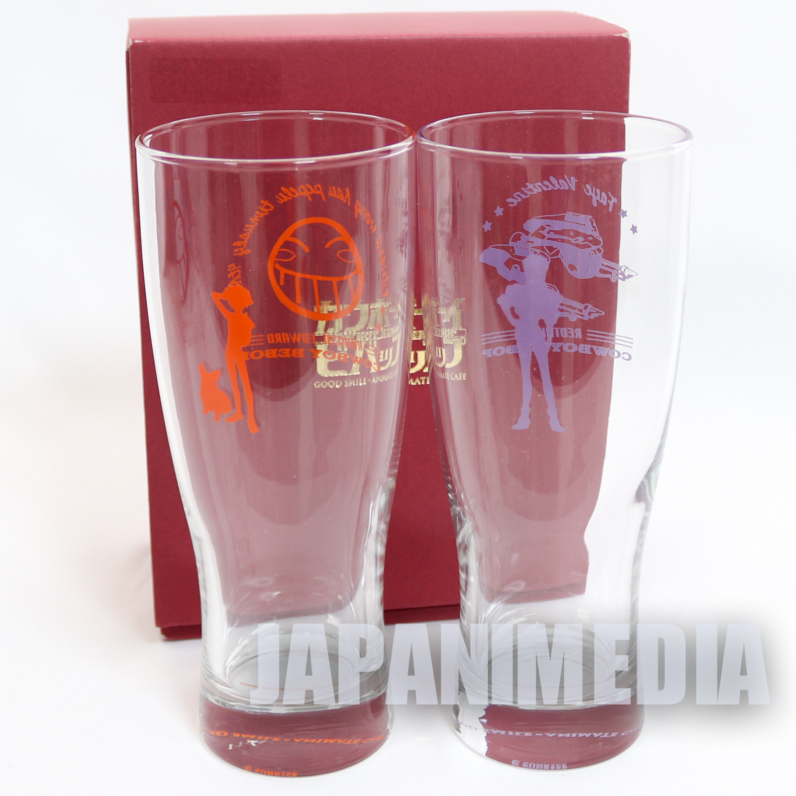 Cowboy Bebop Faye & Ed & Ein Beer Glass set 20th Anniversary
