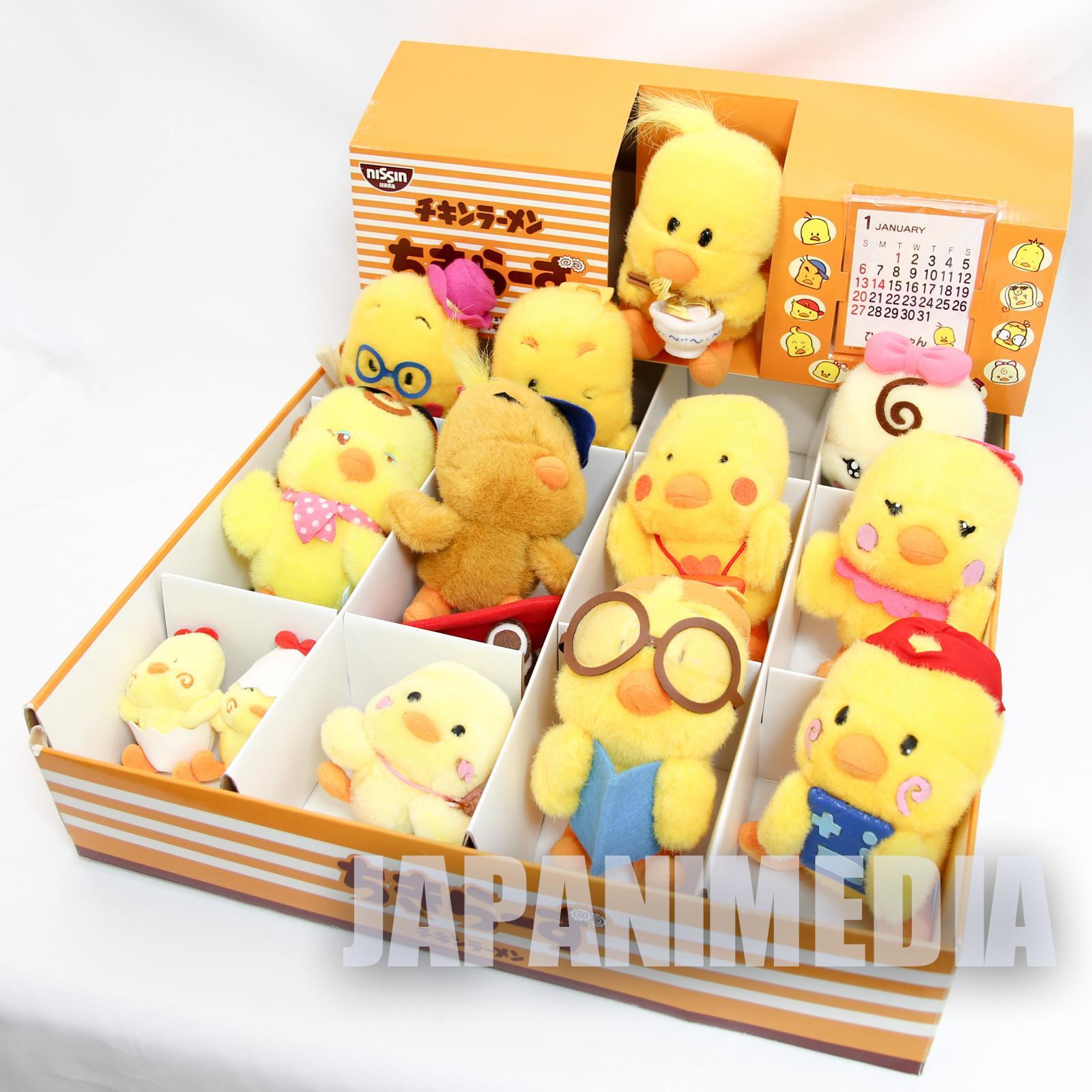 Nissin Chicken Ramen Chikiras Chick Plush Doll 12pc Set JAPAN