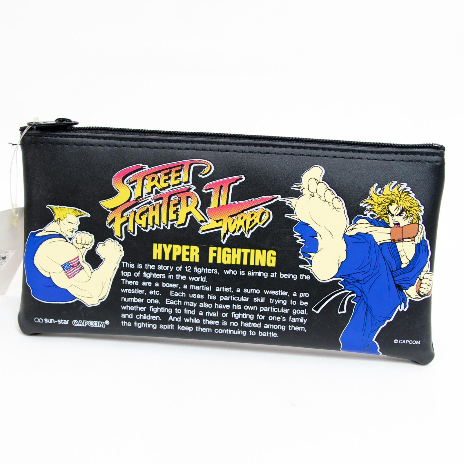 Retro RARE Street Fighter 2 Turbo Soft Pen Case Sun Star KEN GUILE