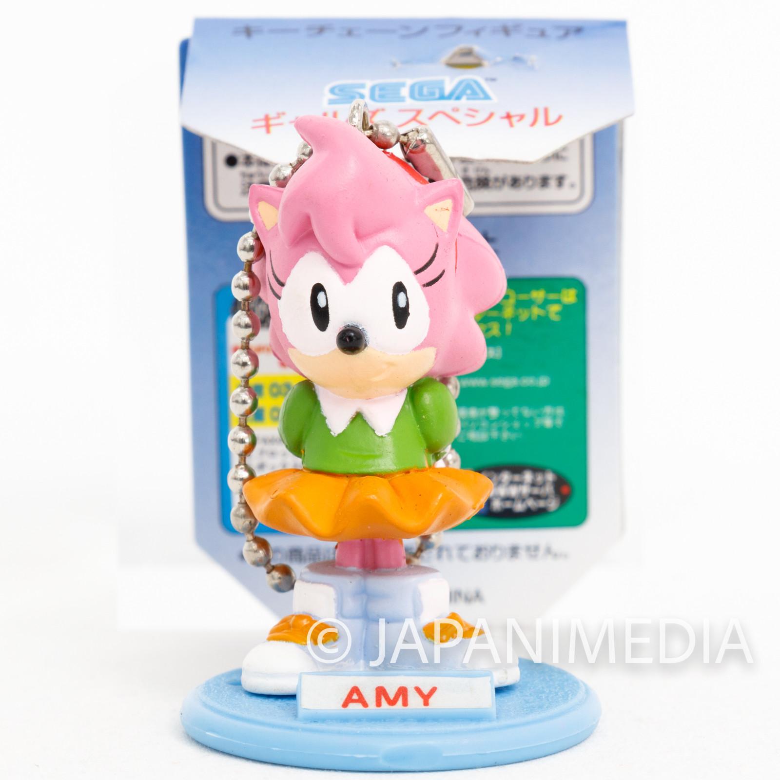 Retro RARE! Sonic The Hedgehog Amy Rose Figure Keychain JAPAN SEGA