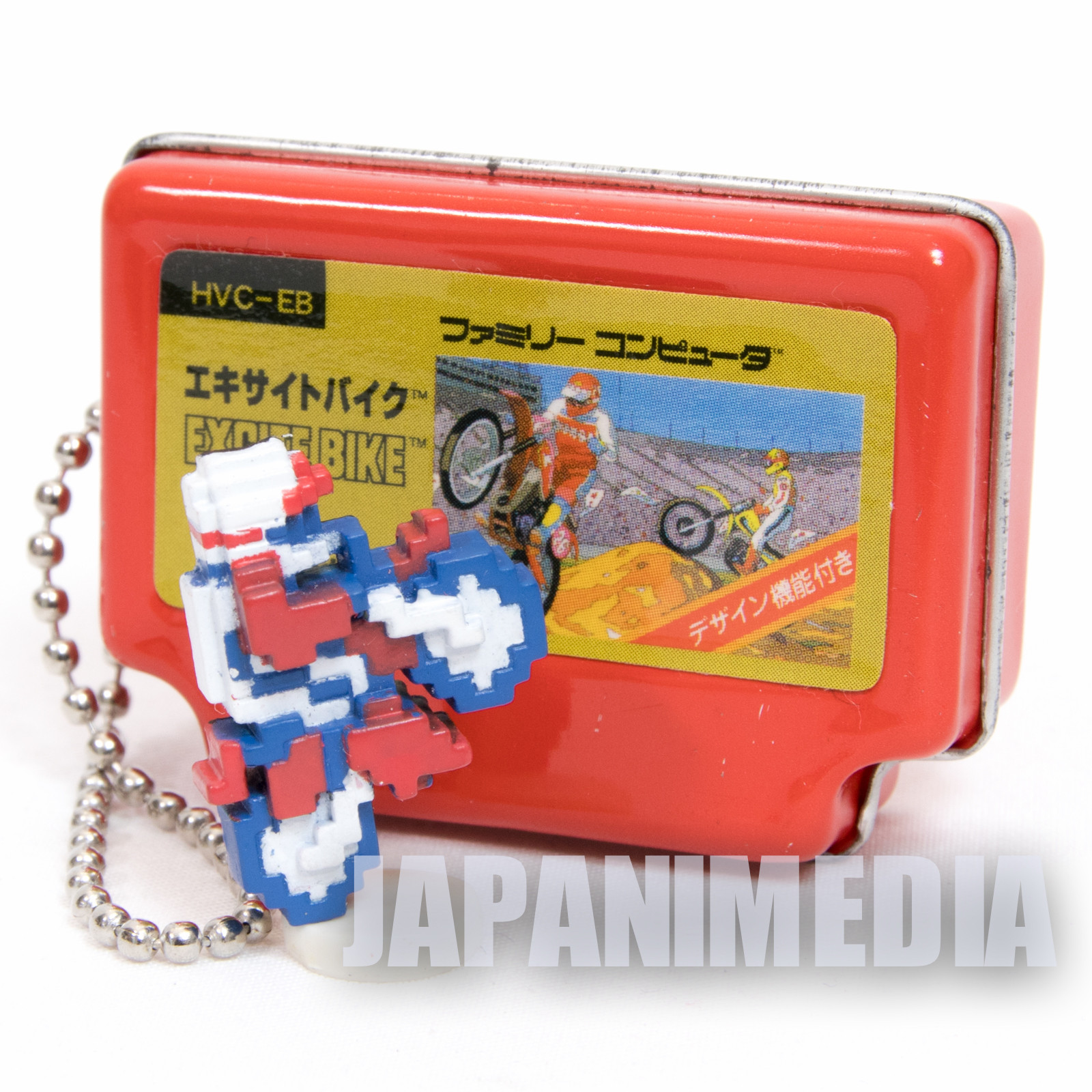 EXCITE BIKE Famicom Mini Can Case Keychain + Dot Figure Epoch JAPAN