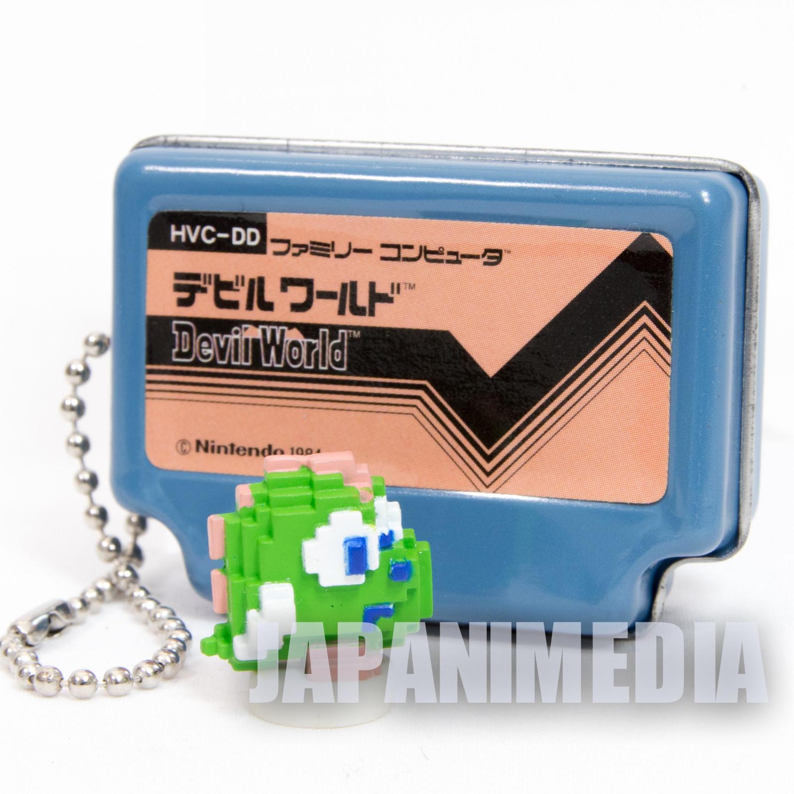 DEVIL WORLD Famicom Mini Can Case Keychain + Dot Figure Epoch JAPAN