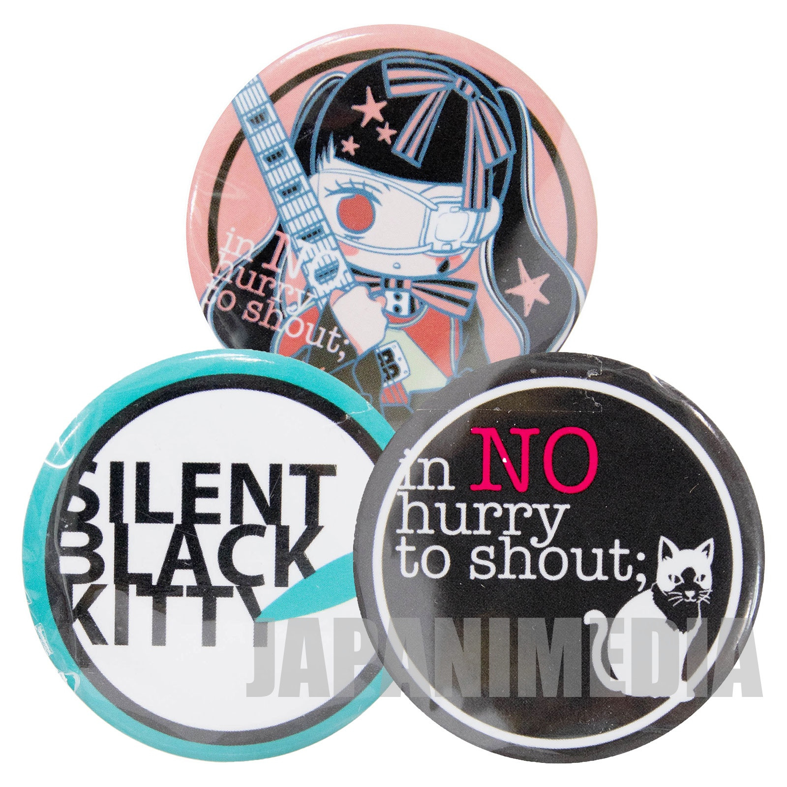 Anonymous Noise in no hurry to shout; & SILENT BLACK KITTY Button Badge 3pc set JAPAN MANGA