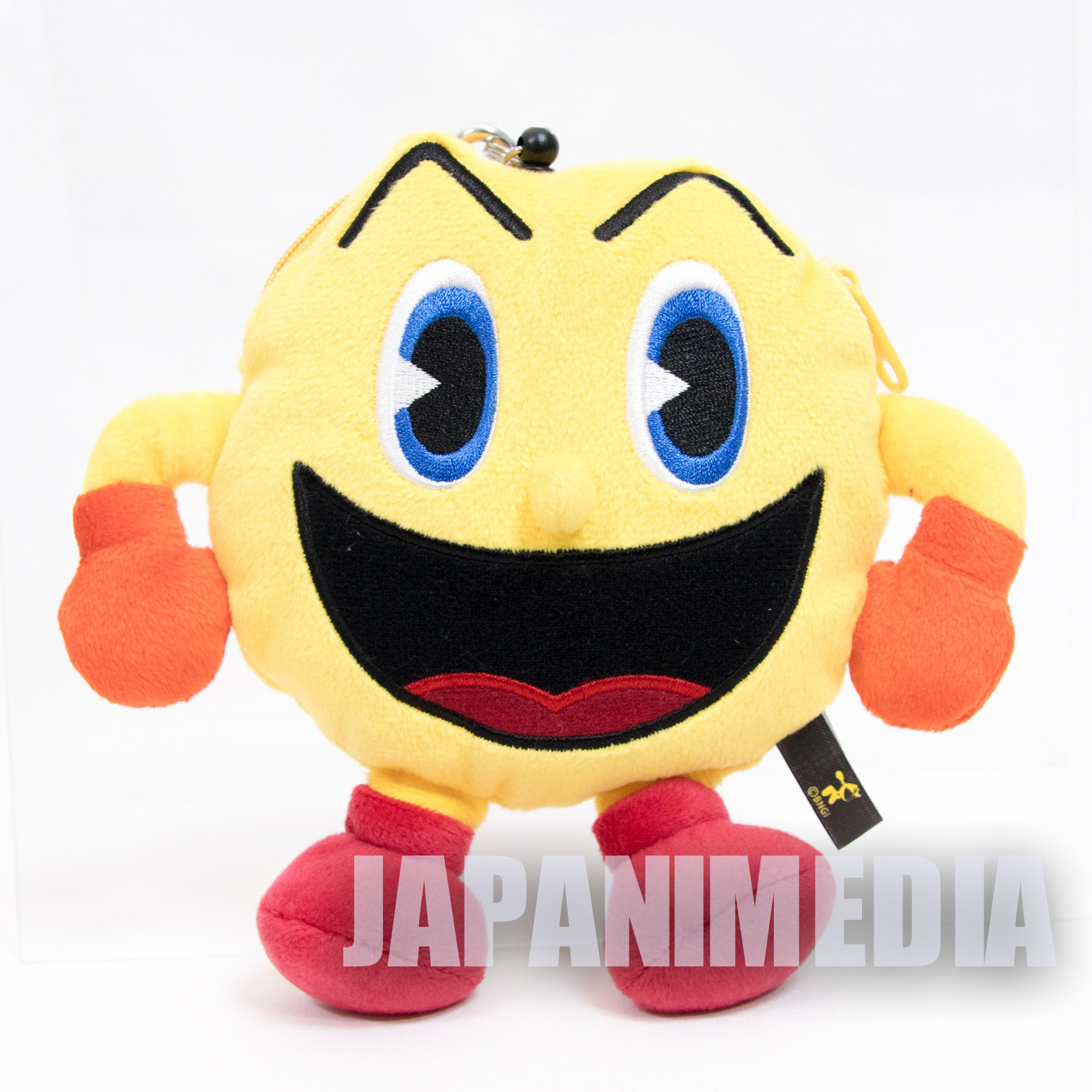 Pac-man Plush Doll Pouch Case w/Carabiner Pac World Namco JAPAN