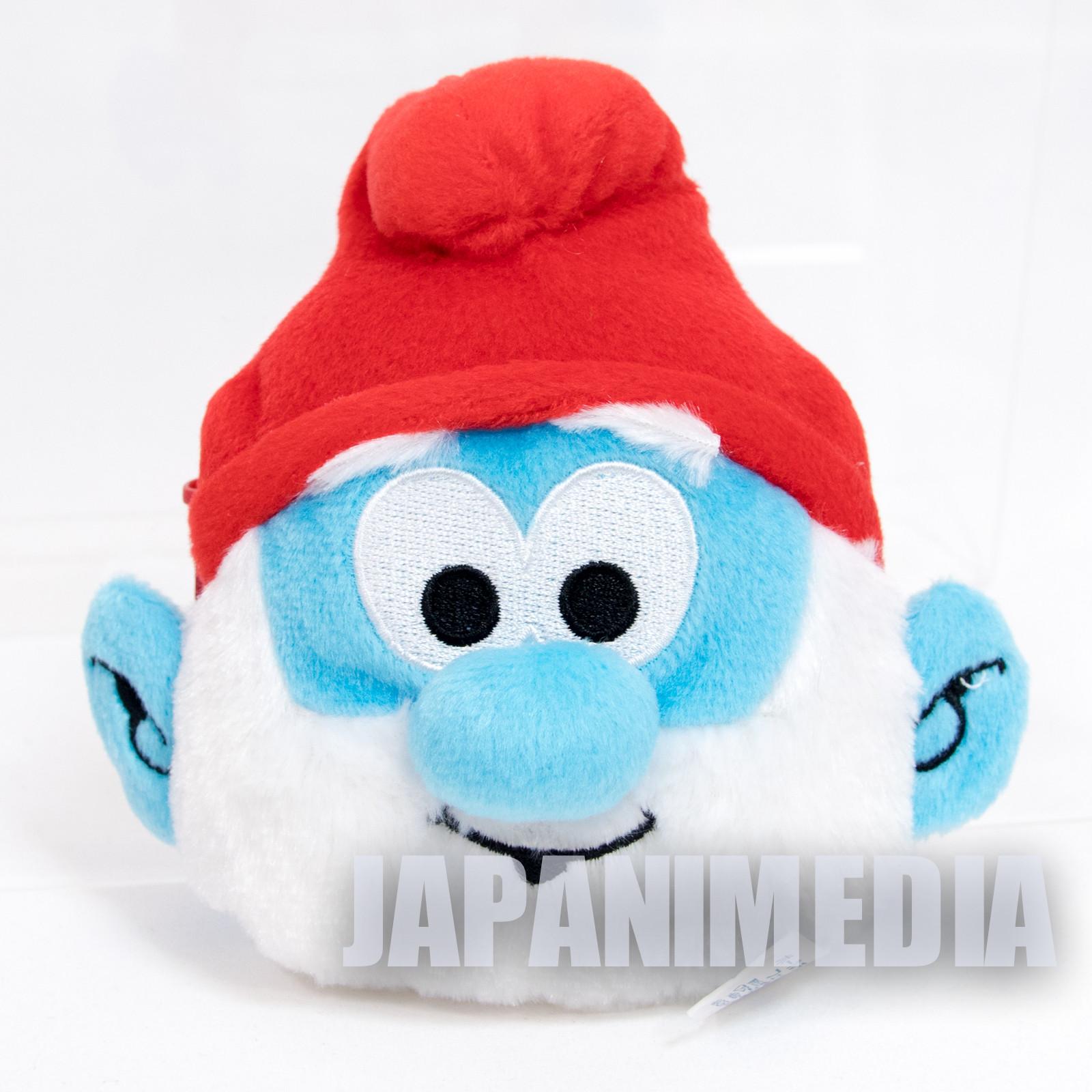 PaPa Smurf Face Type Plush Doll Pouch Mini Bag Ballchain JAPAN SMURFS