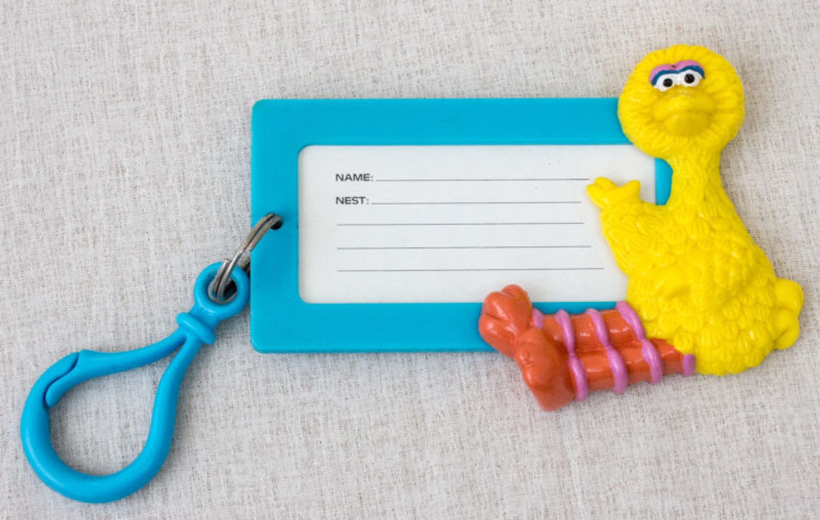 Sesame Street Big Bird Name Tag w/Hook USA TV