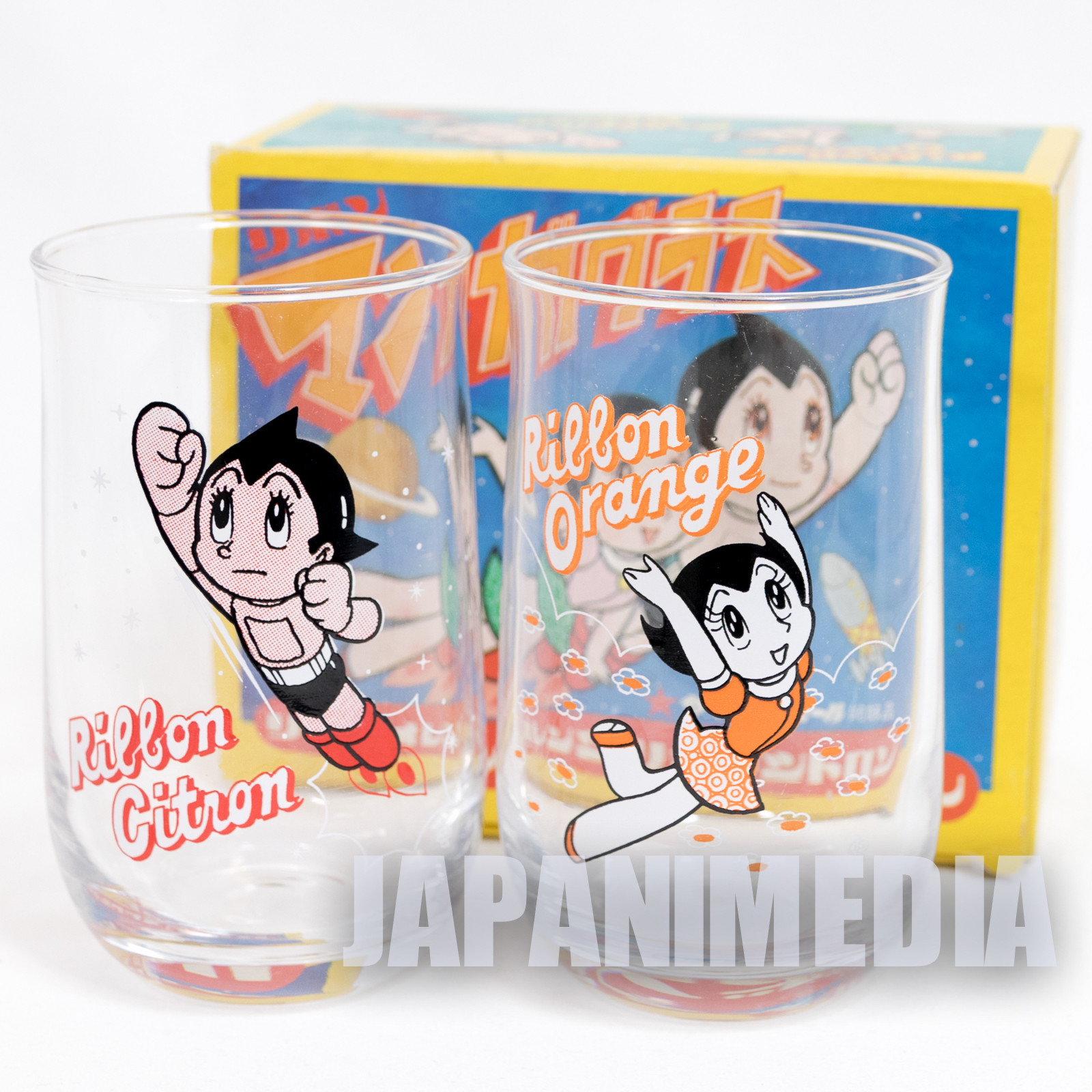 Retro Mighty Atom Astro Boy Glass 2pc Set Tezuka Osamu JAPAN ANIME MANGA
