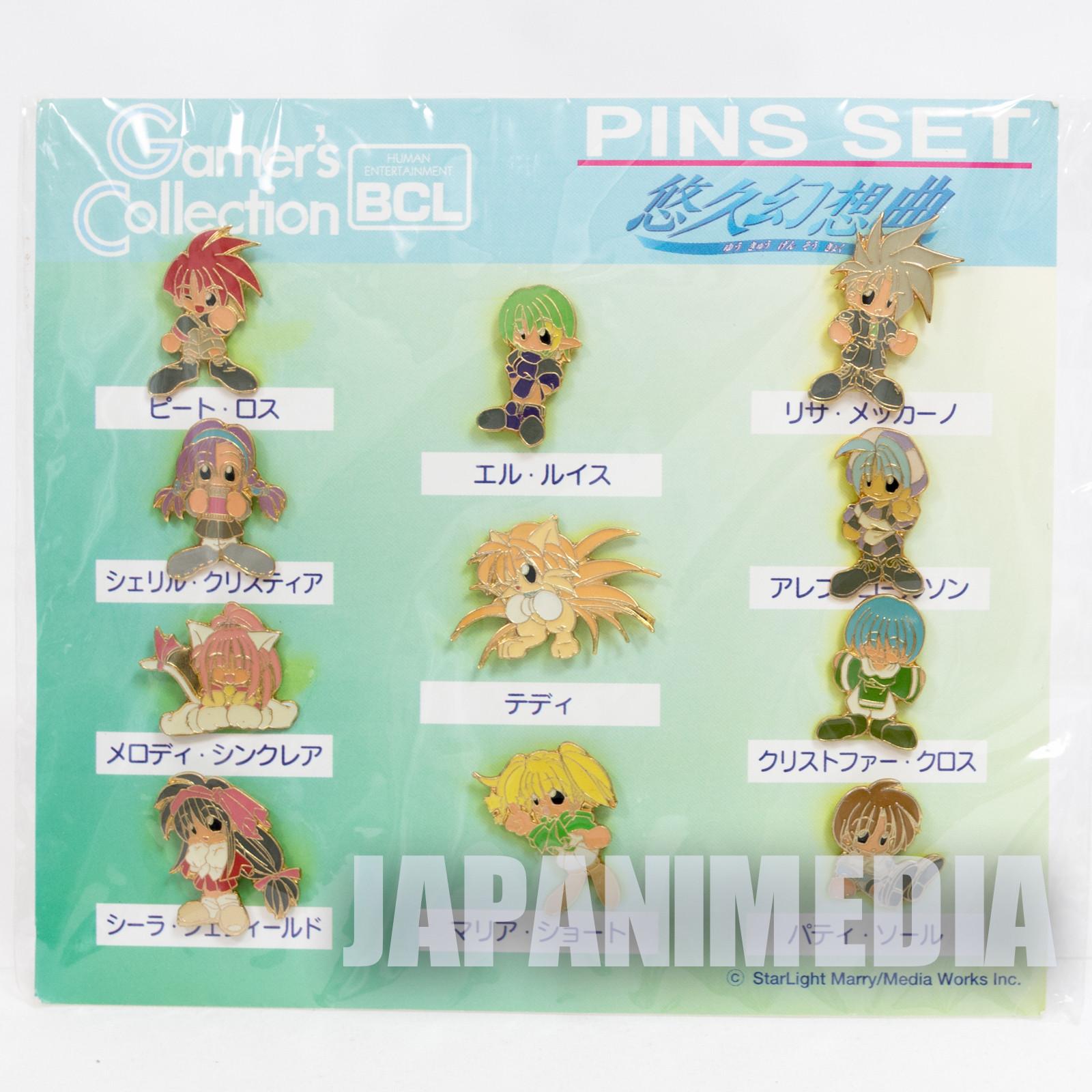RARE! Yukyu Gensokyoku Metal Pins 11pc Set JAPAN SEGA SATURN