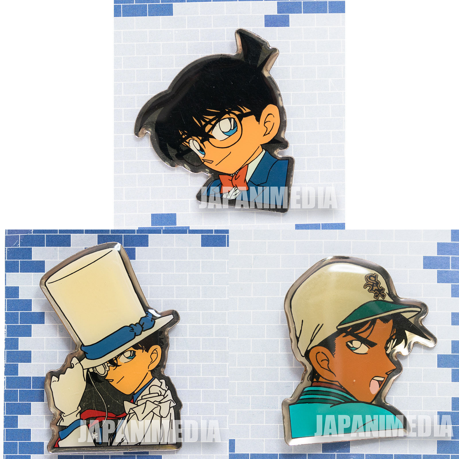 Case Closed Detective Conan Metal Pins 3pc Set JAPAN ANIME