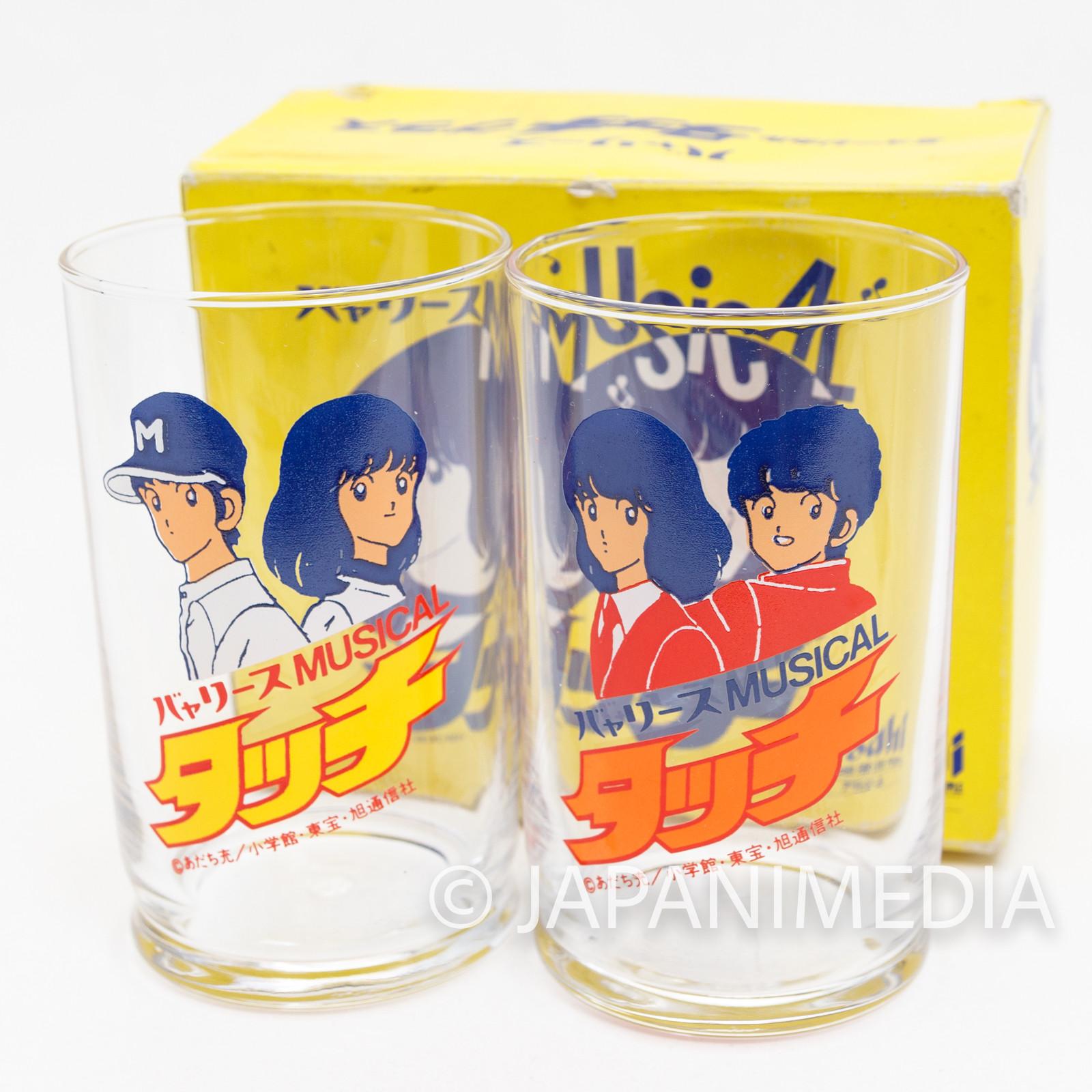 Retro RARE TOUCH Minami Asakura Tatsuya Uesugi Glass Set Mitsuru Adachi