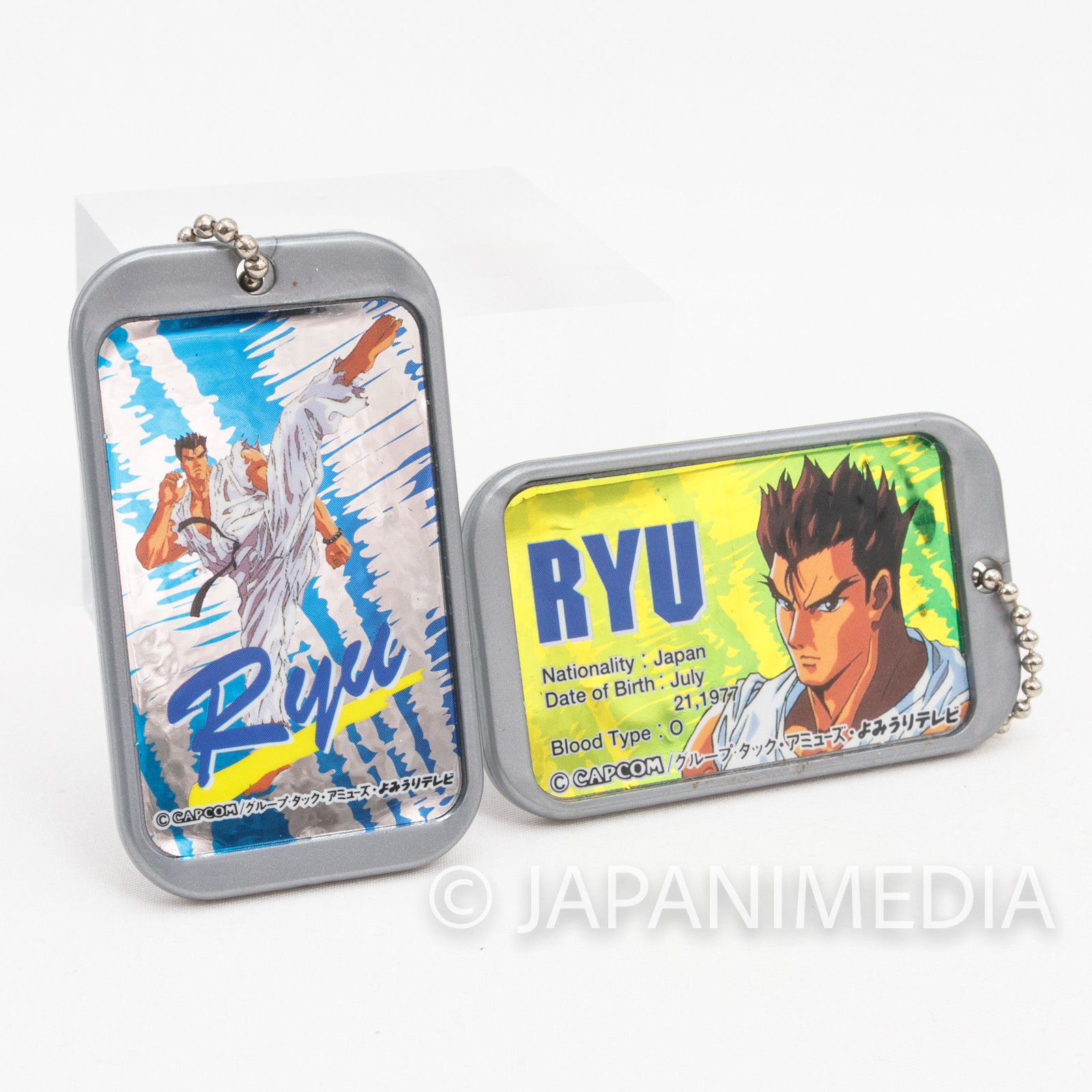 Street Fighter 2 Animation Ryu Plastic Plate Charm Ballchain 2pc Set