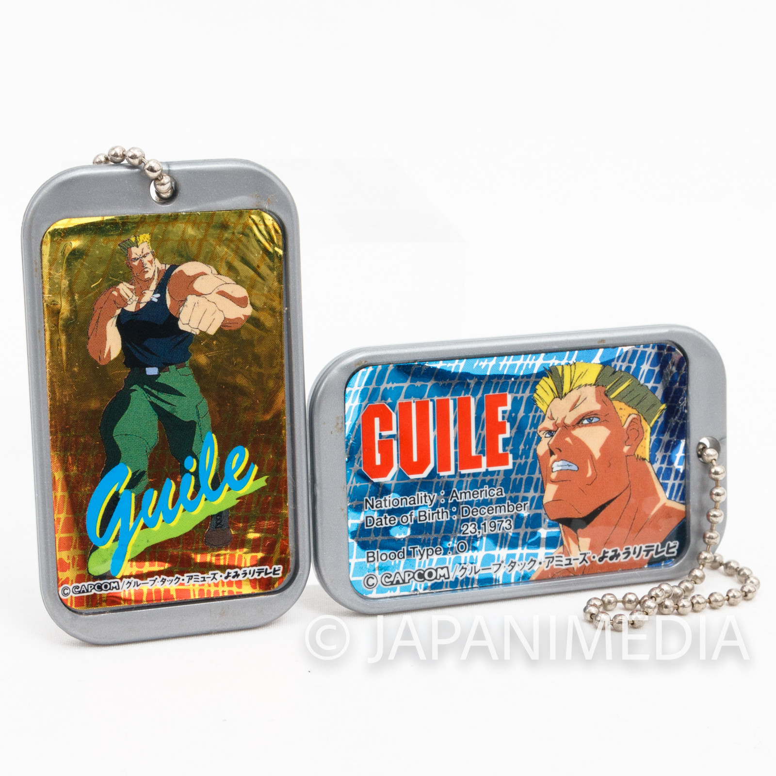 Street Fighter 2 Animation Guile Plastic Plate Charm Ballchain 2pc Set