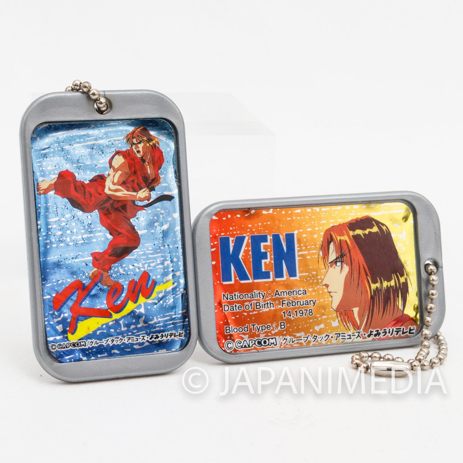Street Fighter 2 Animation Ken Plastic Plate Charm Ballchain 2pc Set