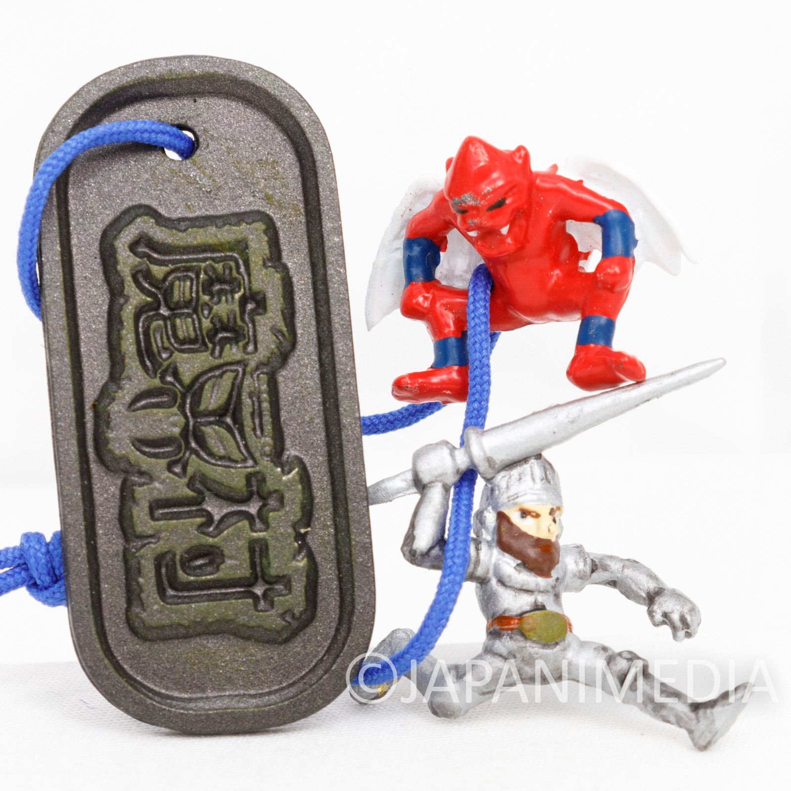 RARE! Ghosts'n Goblins Arthur & Red Arremer Small Figure Plate Strap Makaimura Capcom