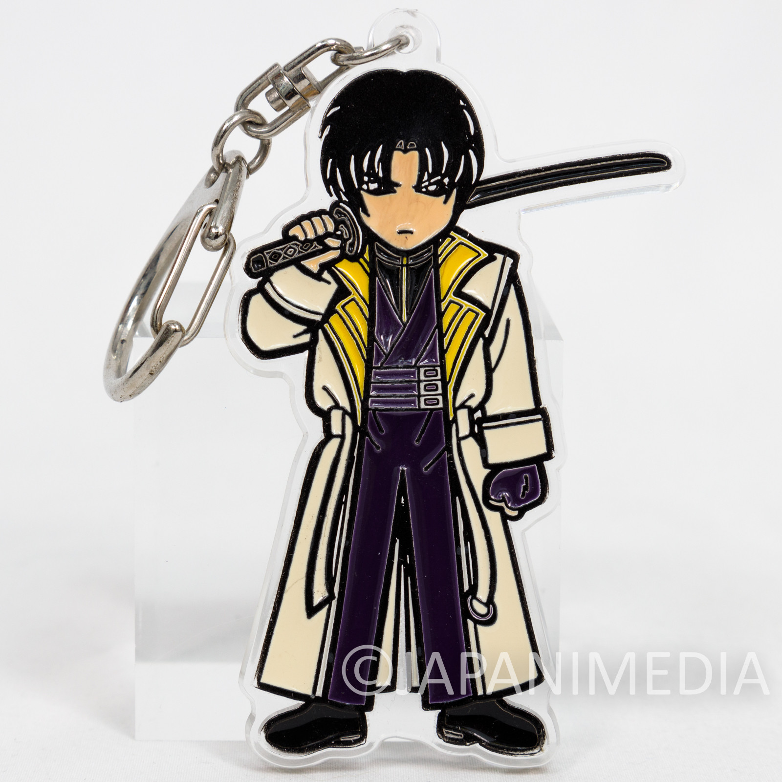Retro RARE! Rurouni Kenshin Aoshi Shinomori Acrylic Mascot Keychain JAPAN