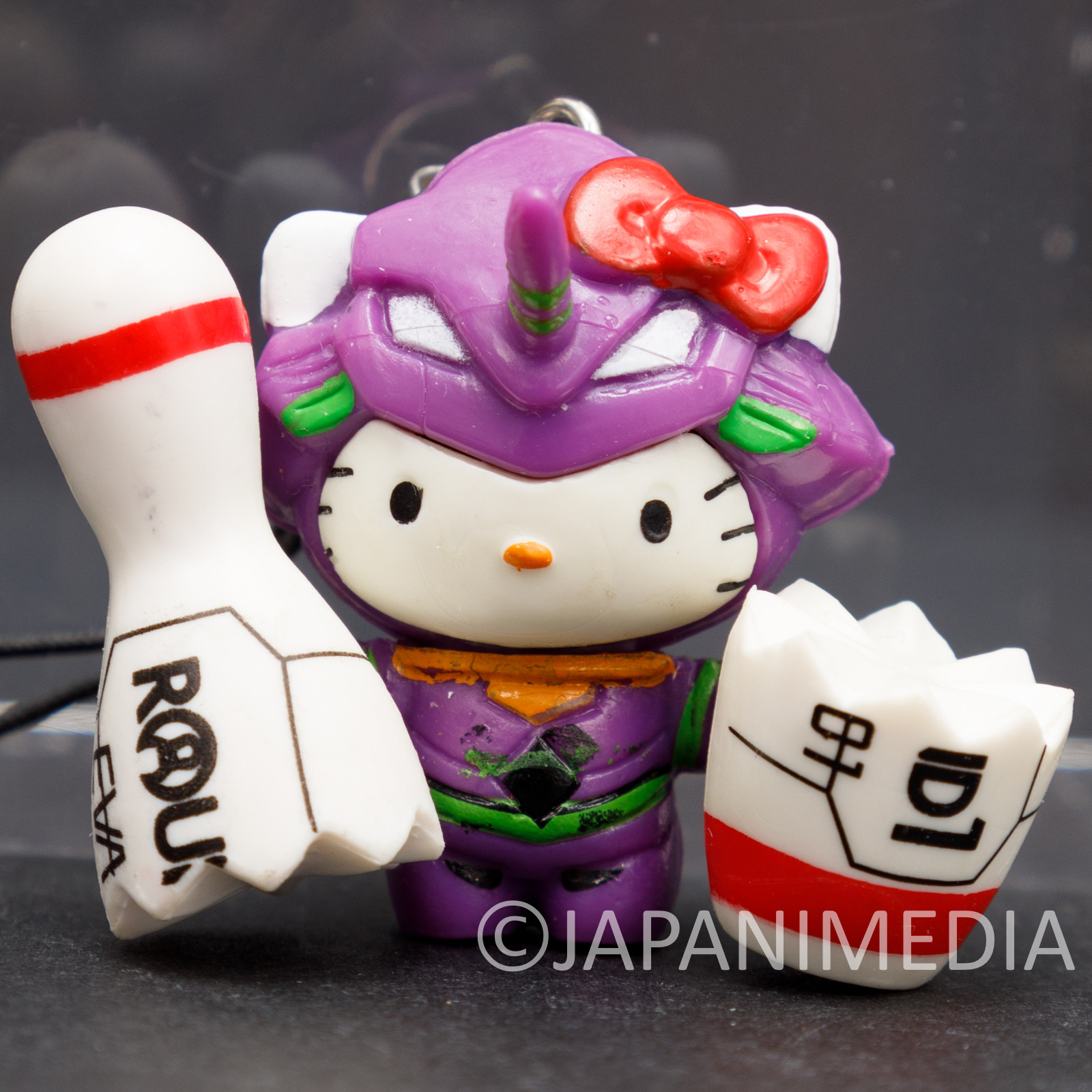 Evangelion EVA-01 x Hello Kitty with Bowling Pin Figure Strap JAPAN