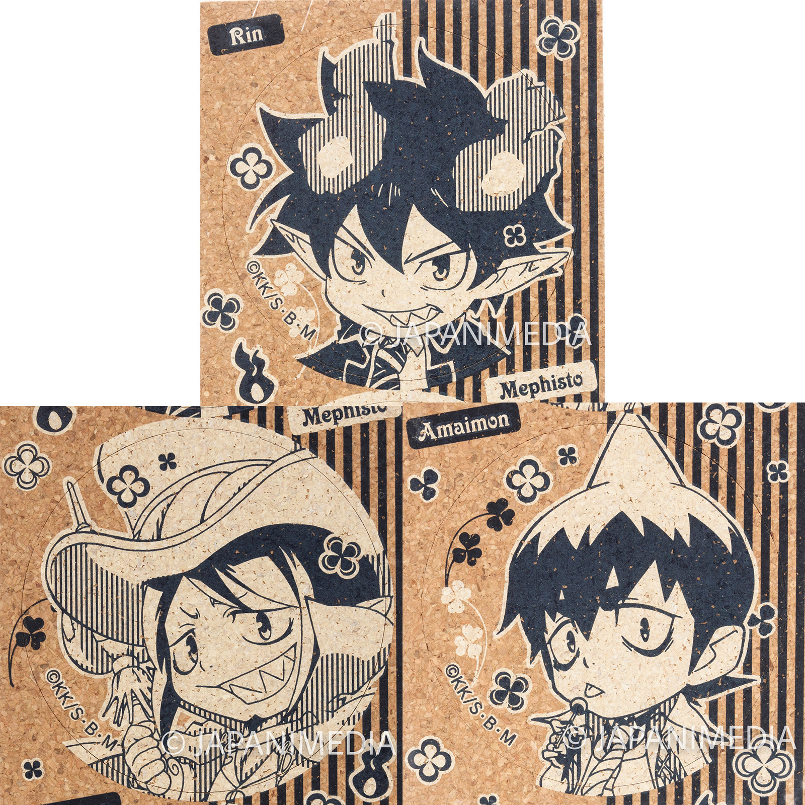 Blue Exorcist Rin & Mephisto & Amaimon Cork Coaster Set JAPAN ANIME AO NO