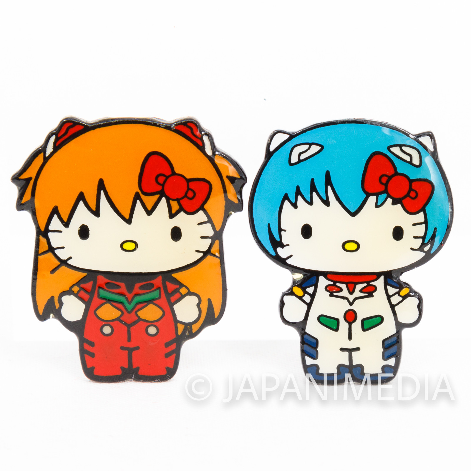 Evangelion Asuka Langley Rei Ayanami x Hello Kitty Metal Pins Set