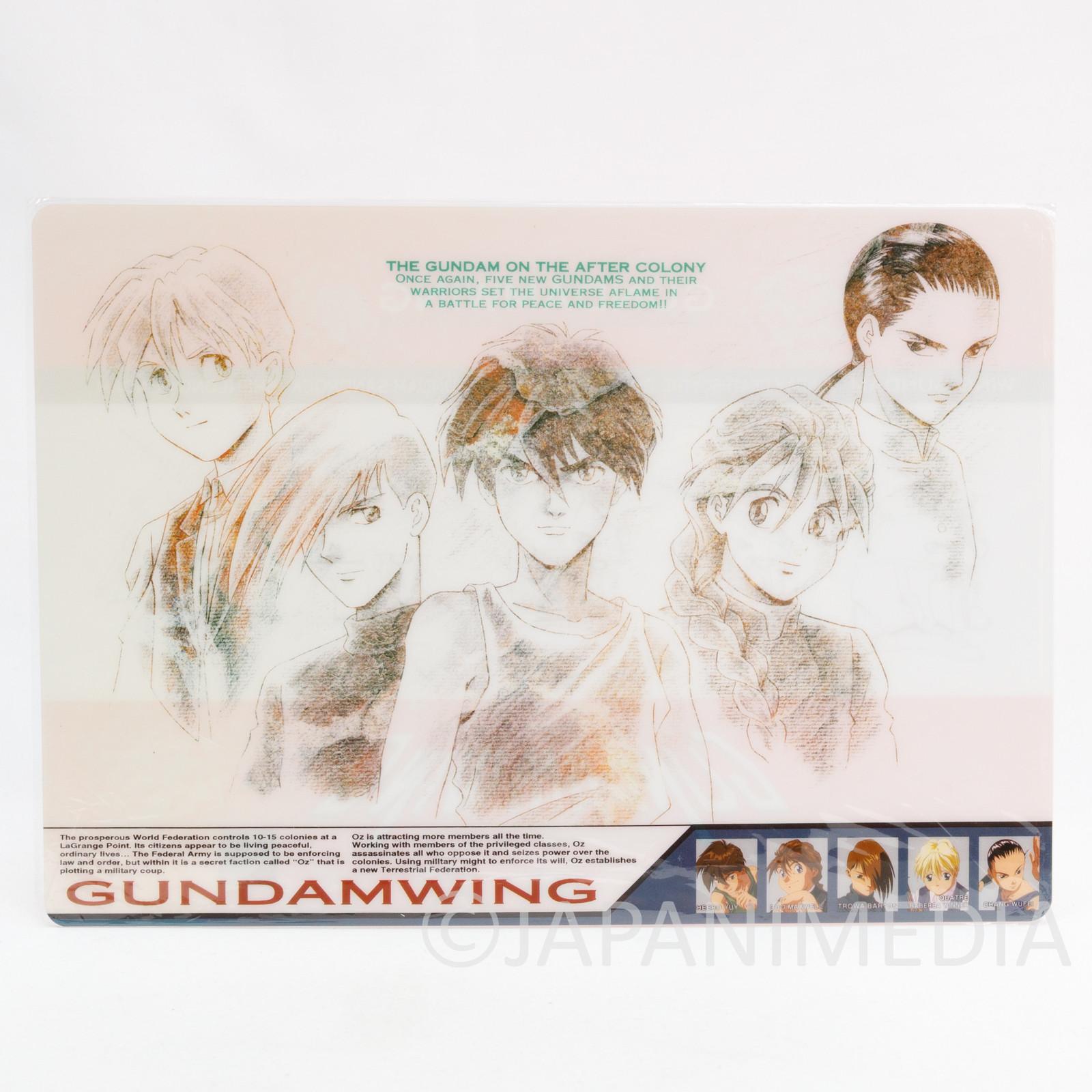 Gundam Wing Heero Duo Trowa Quatre Wufei Plastic Pencil Board Pad Shitajiki 2
