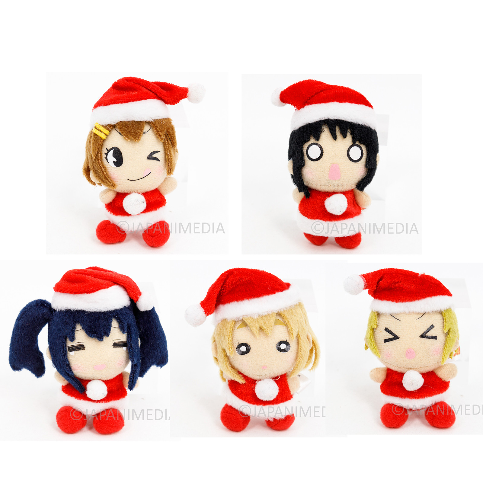K-ON! Mini Plush Doll Christmas ver. 5pc Set Yui Mio Ritus Tsumugi Azusa NO BOX