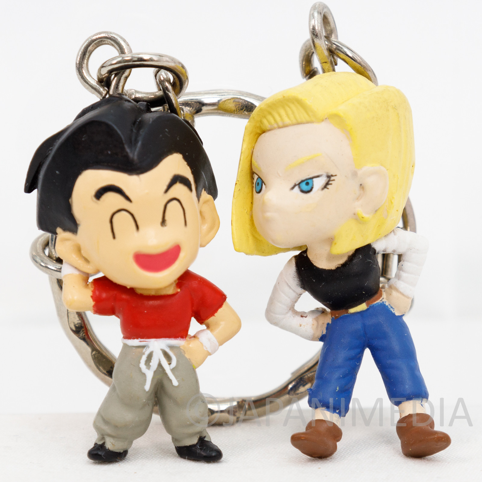 RARE! Dragon Ball Z Krillin & Android 18 Pair Figure Key Chain JAPAN ANIME 2