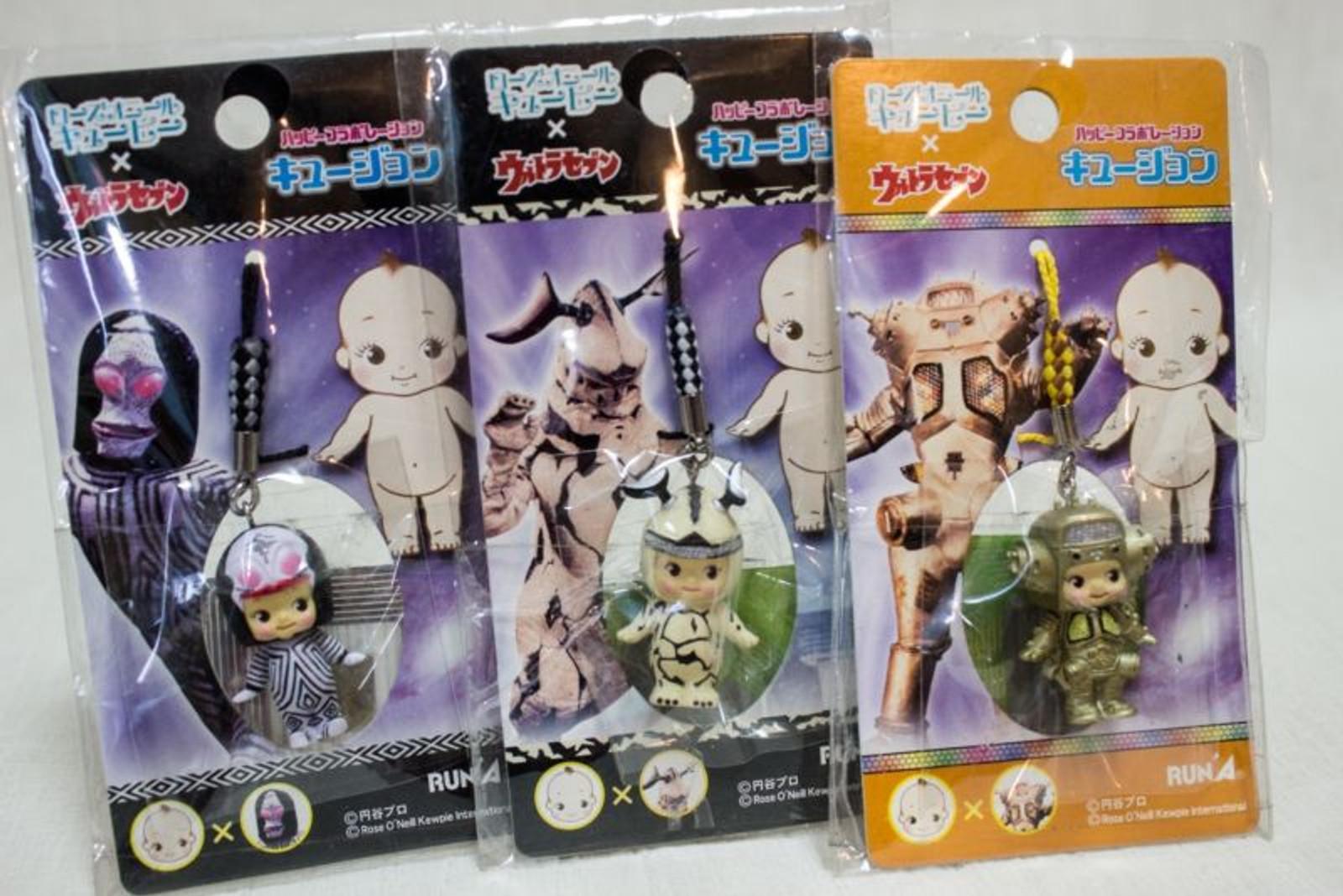 Set of 3 Ultraman Alien Rose O'neill Kewpie Kewsion Figure Strap JAPAN ANIME