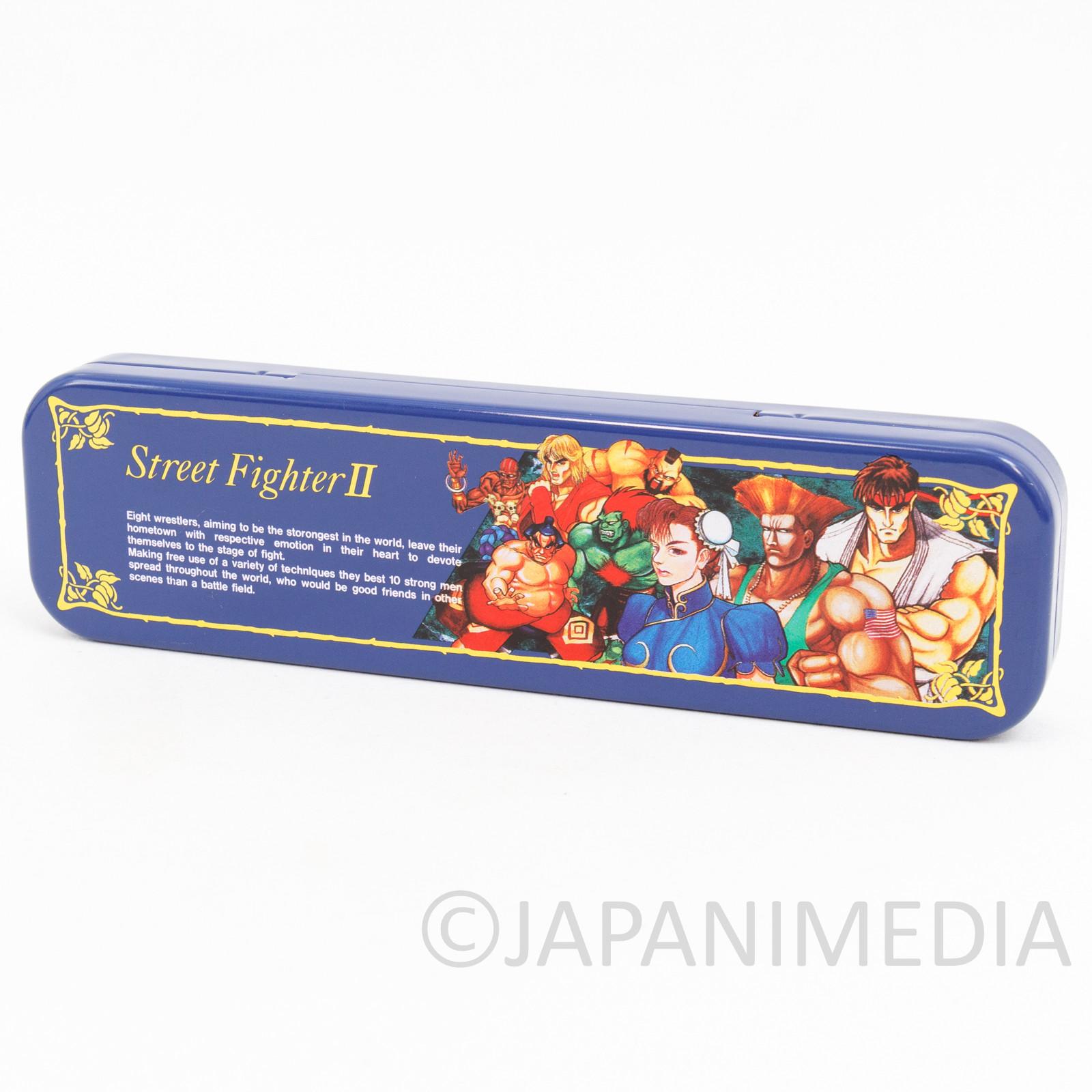 Retro RARE Street Fighter 2 Can Pen Case Capcom JAPAN