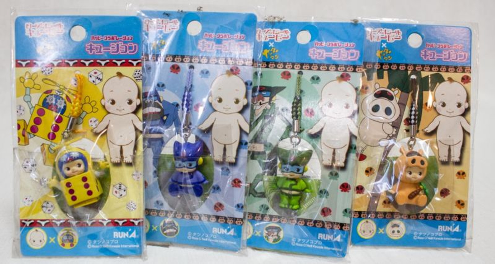 Set of 4 Yatterman Tatsunoko Rose O'neill Kewpie Kewsion Strap JAPAN ANIME