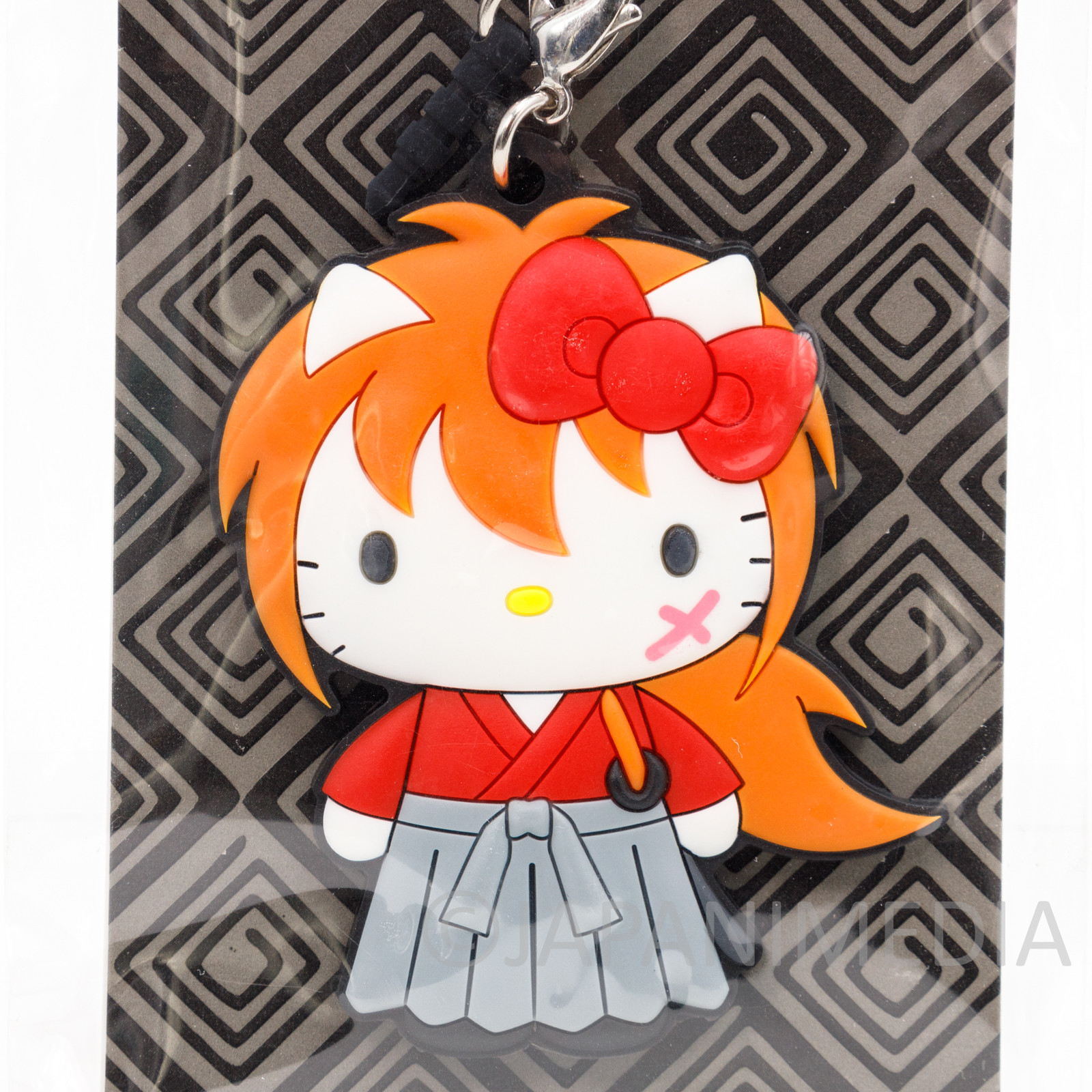 Rurouni Kenshin Himura x Hello Kitty Rubber Mascot Charm Earphone Jack Strap