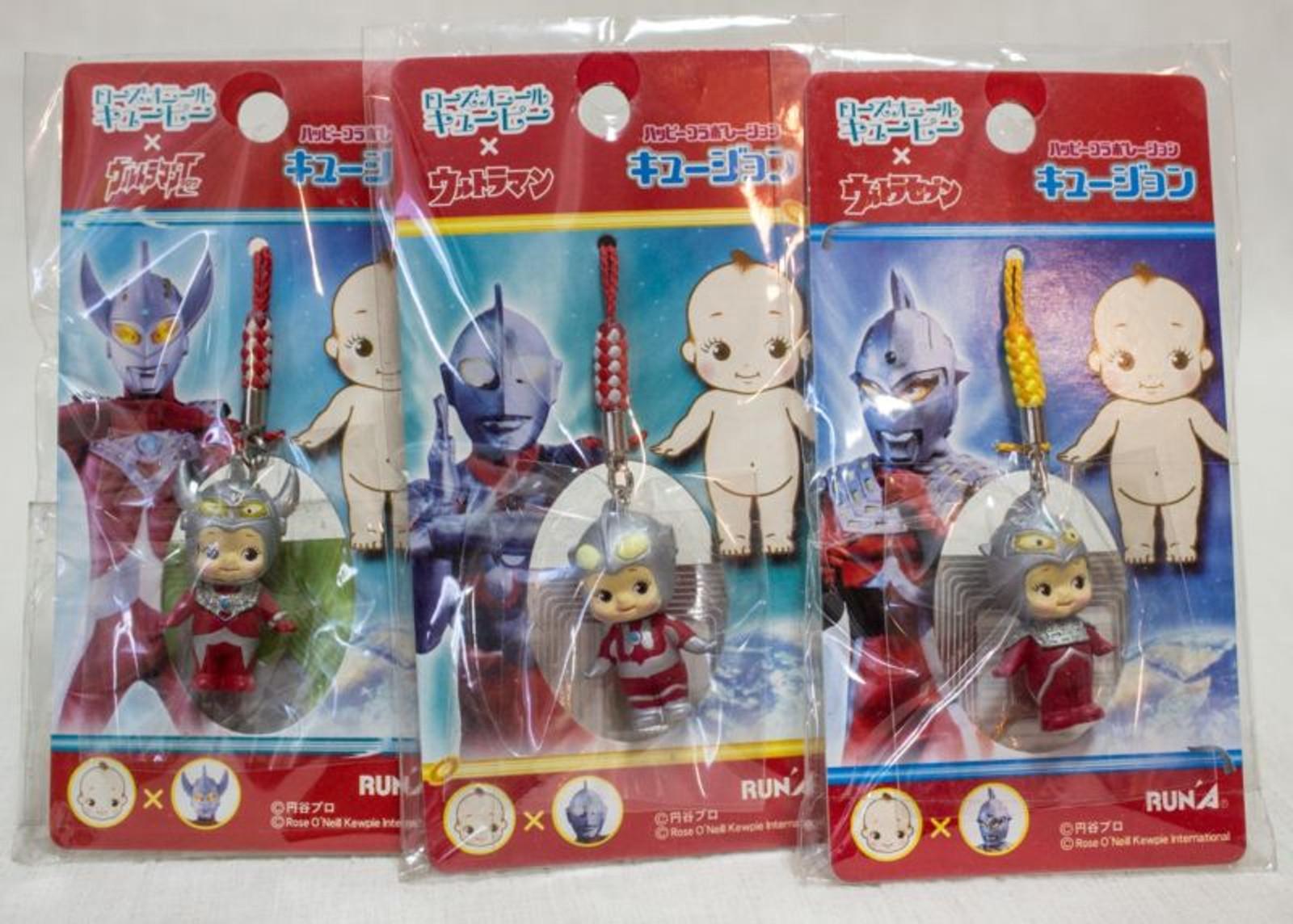 Set of 3 Ultraman Rose O'neill Kewpie Kewsion Figure Strap JAPAN ANIME