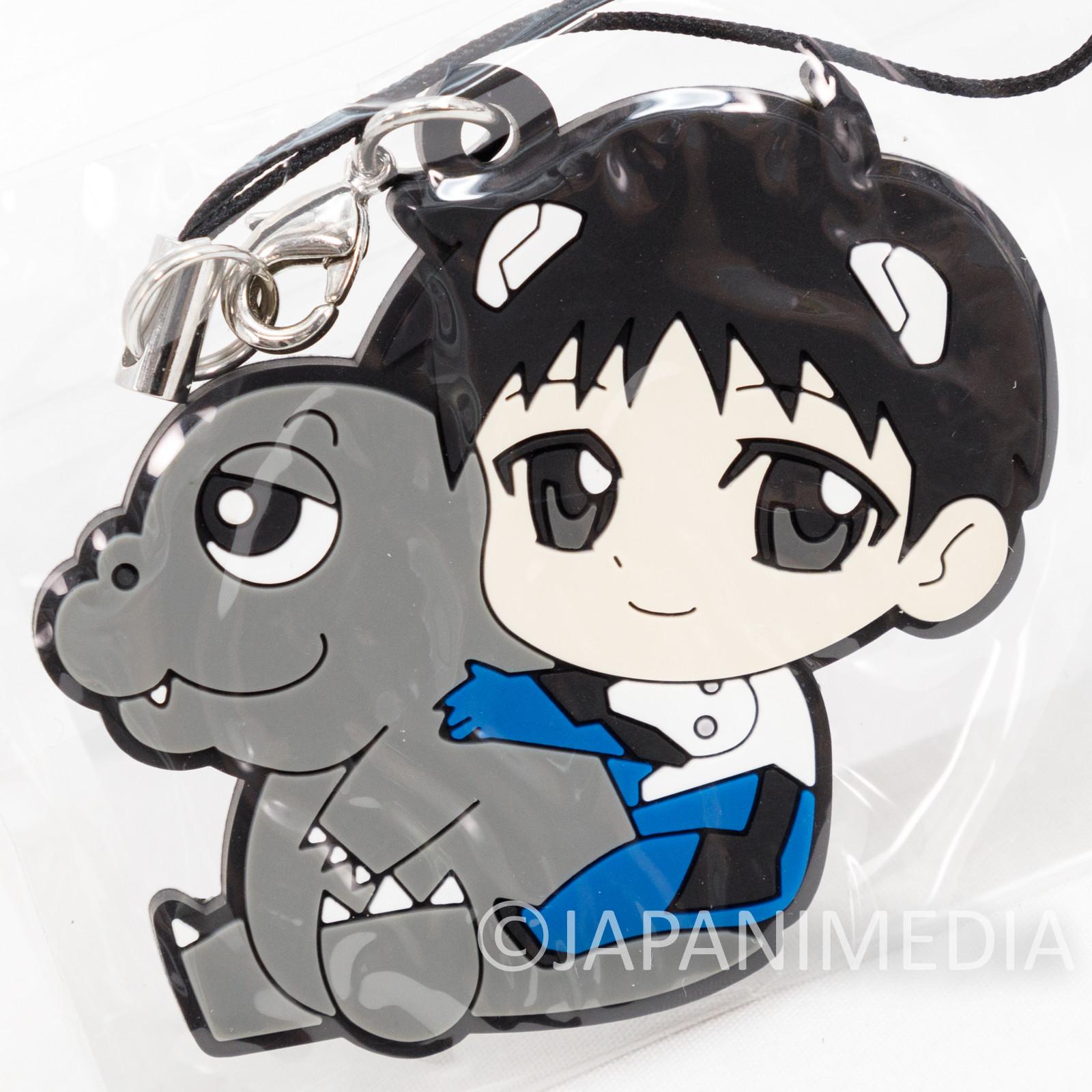 Evangelion Shinji Ikari x Minilla Mascot Rubber Strap JAPAN
