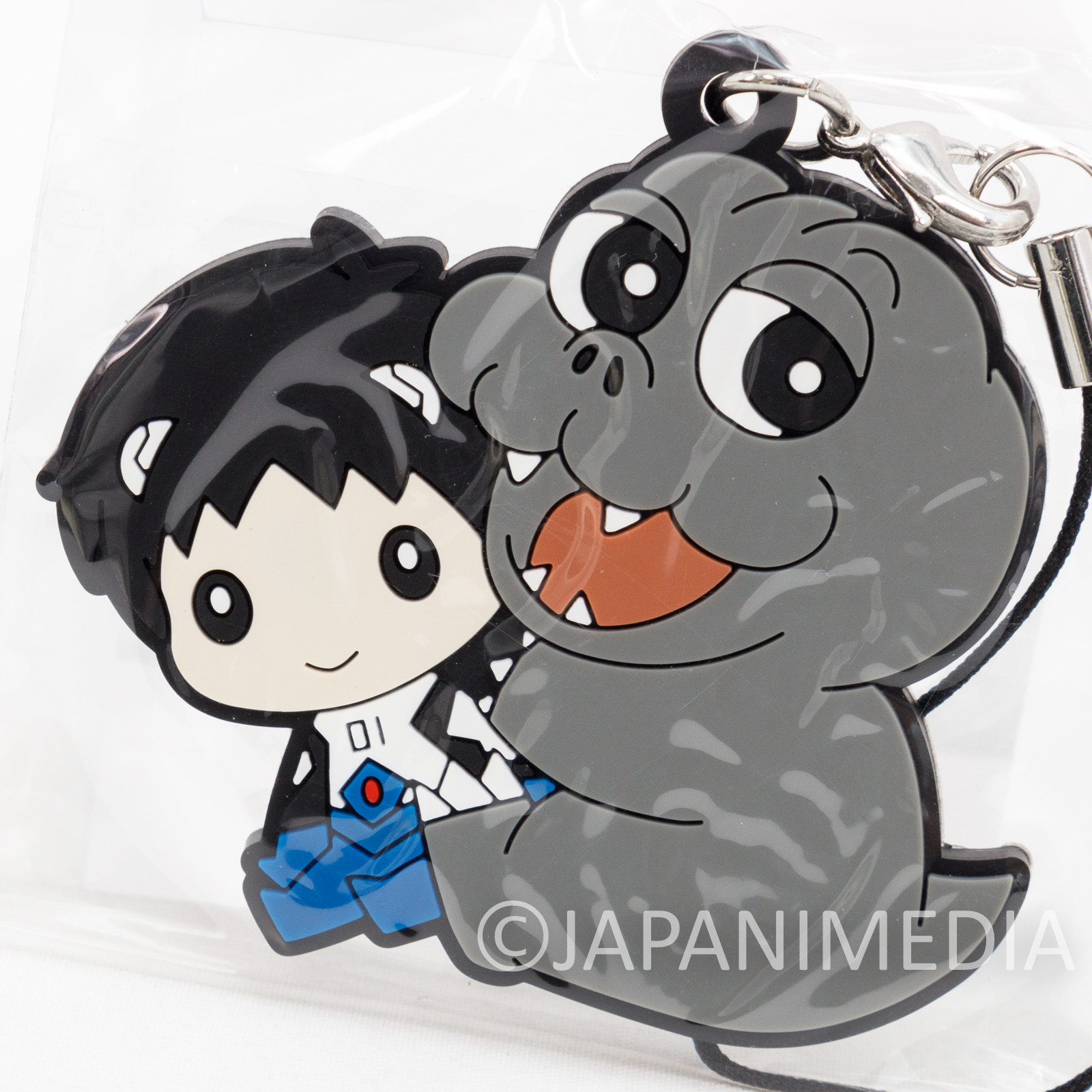 Evangelion Shinji Ikari x Minilla Mascot Rubber Strap JAPAN 2