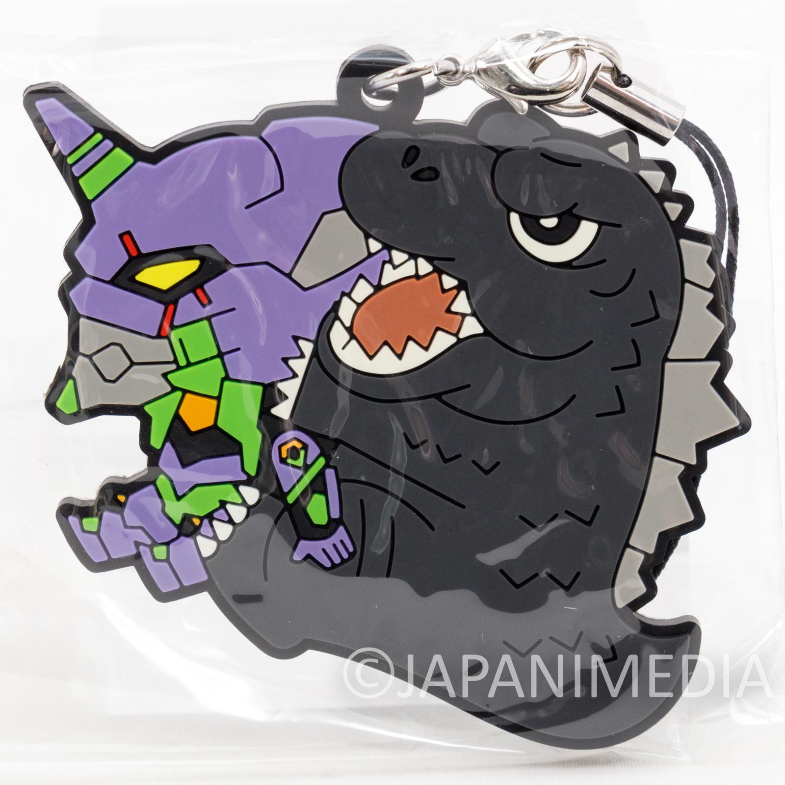 Evangelion EVA-01 x Godzilla Mascot Rubber Strap JAPAN