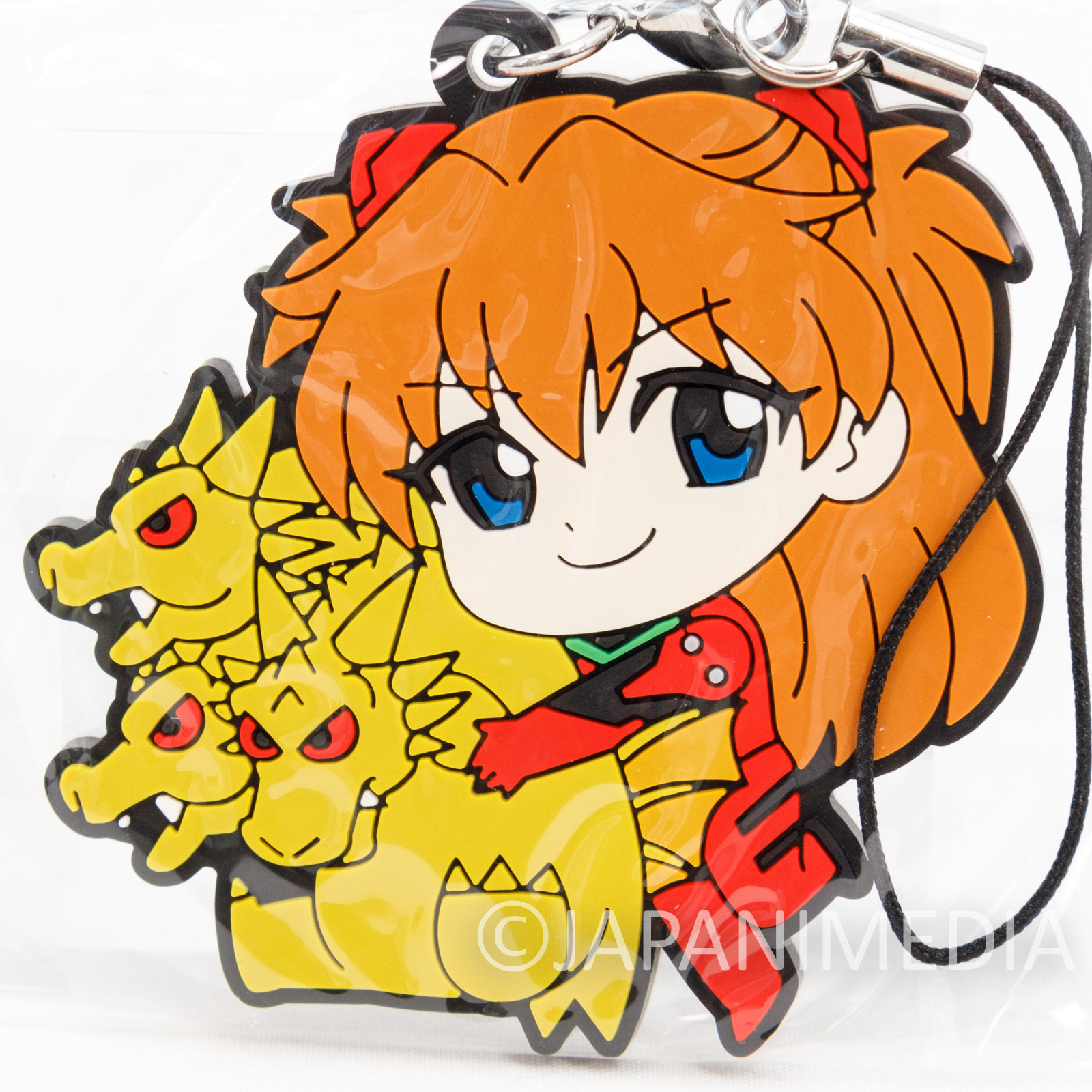 Evangelion Asuka Langley x King Ghidorah Mascot Rubber Strap JAPAN ANIME 2