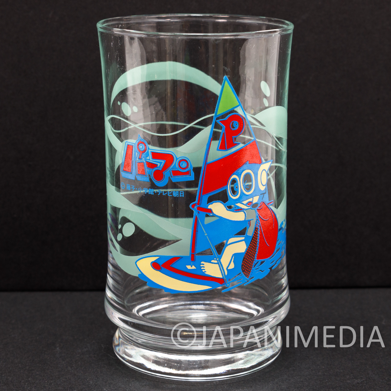 Retro RARE Perman Glass Fujiko F Fujio JAPAN ANIME MANGA