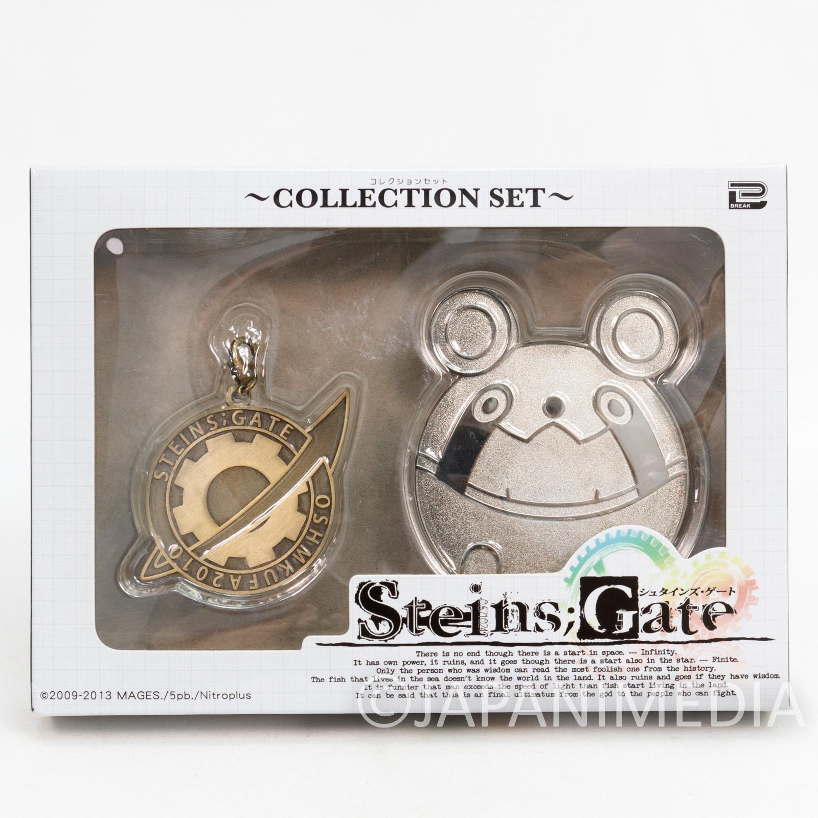 Steins ; Gate Silver Upa Pins & Labomen Mark Mascot Charm Set JAPAN ANIME