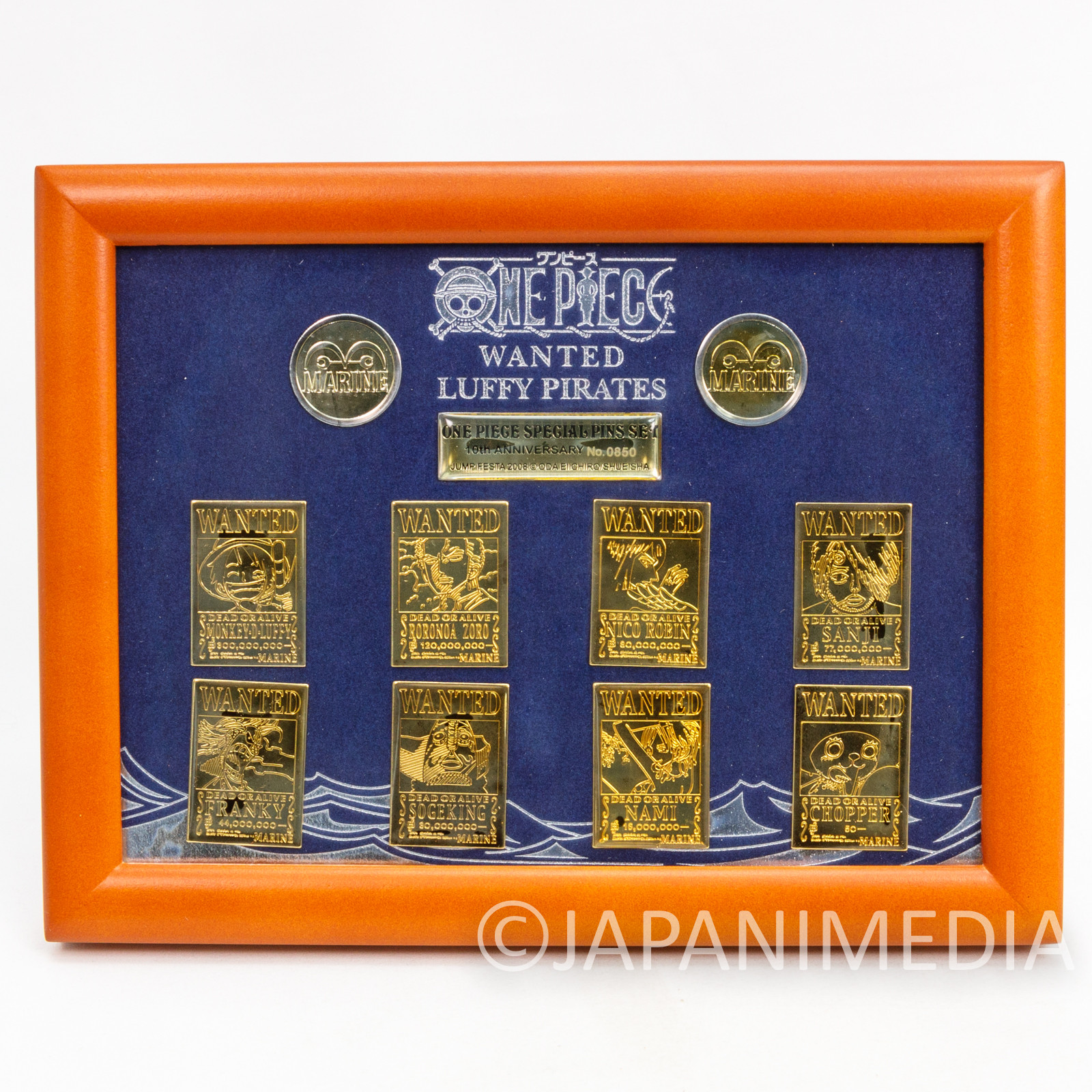 One Piece Wanted Luffy Pirates Special Pins Set 10th Anniversary Jump Festa 2008